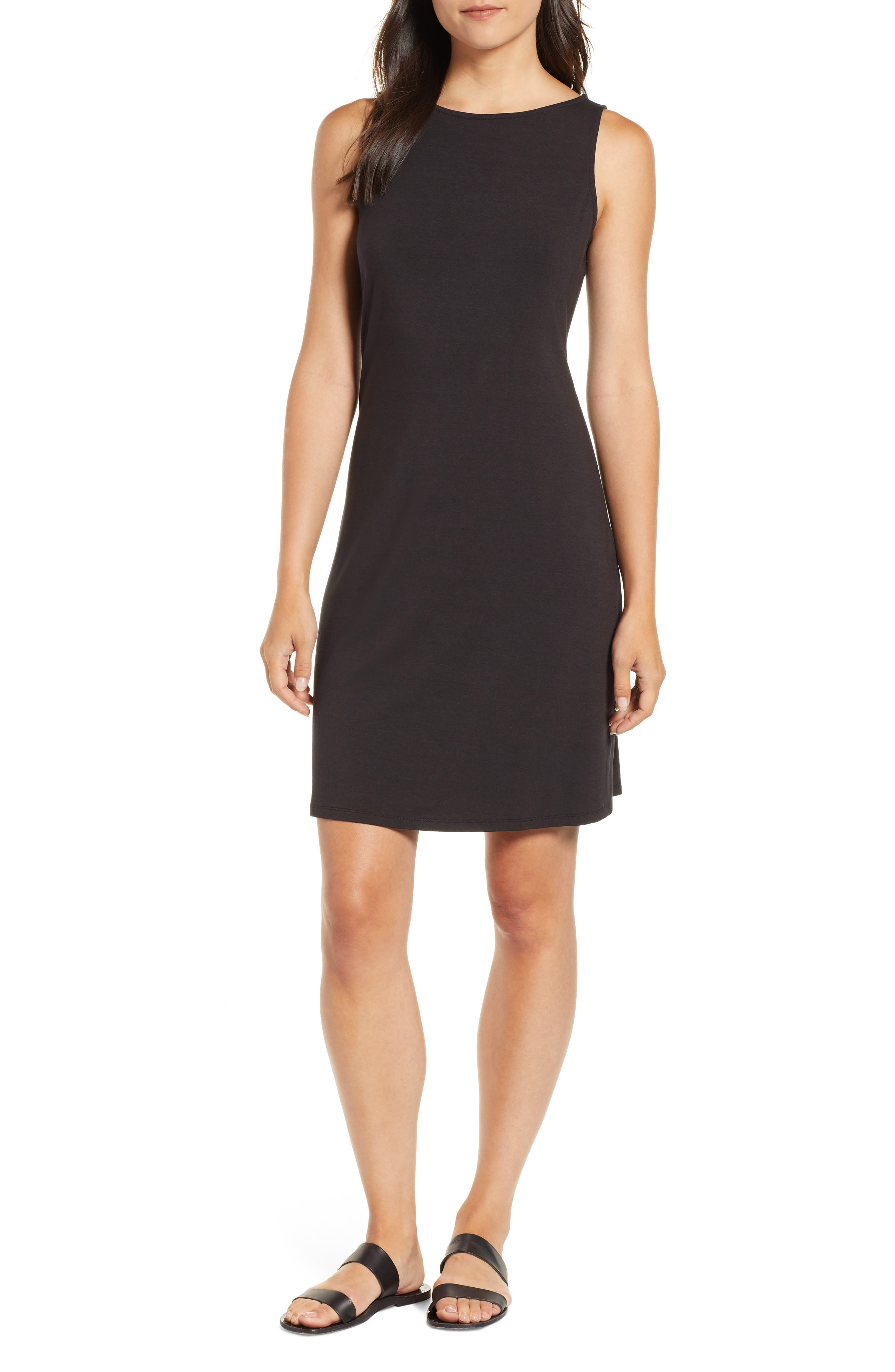 Tambour Shift Dress,                         Main,                         color, BLACK