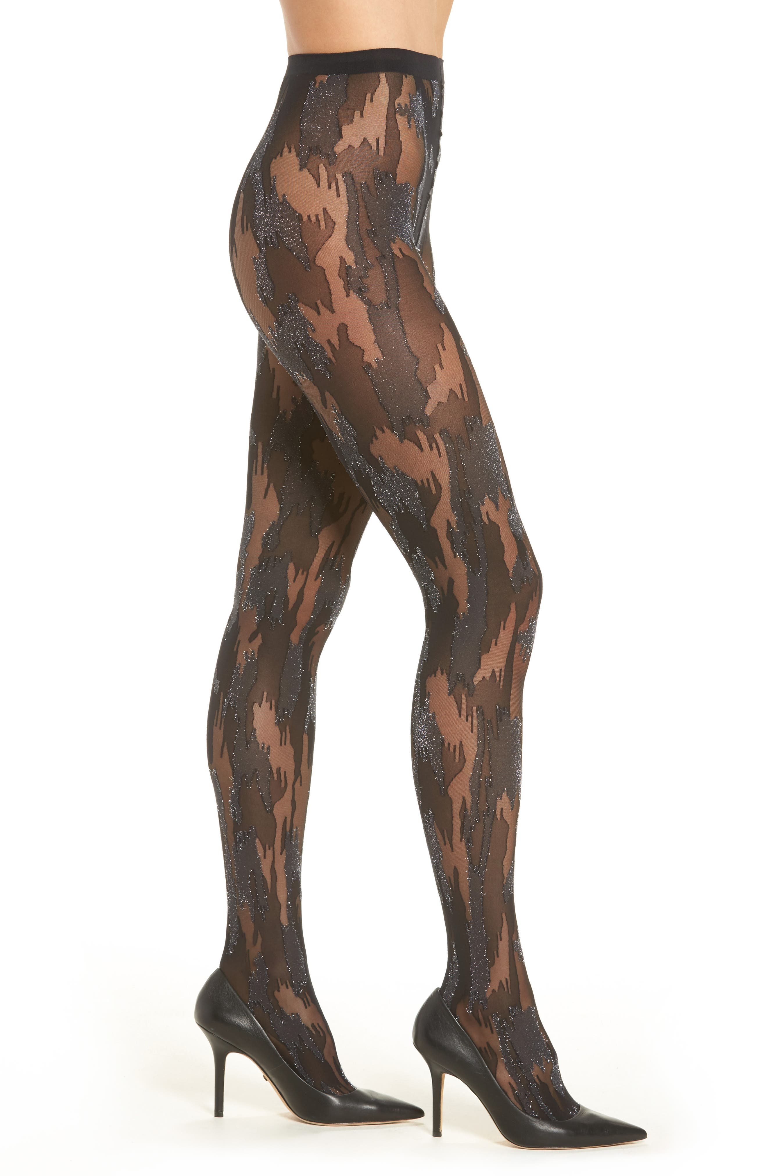 Metallic Camouflage Tights,                             Alternate thumbnail 2, color,                             003