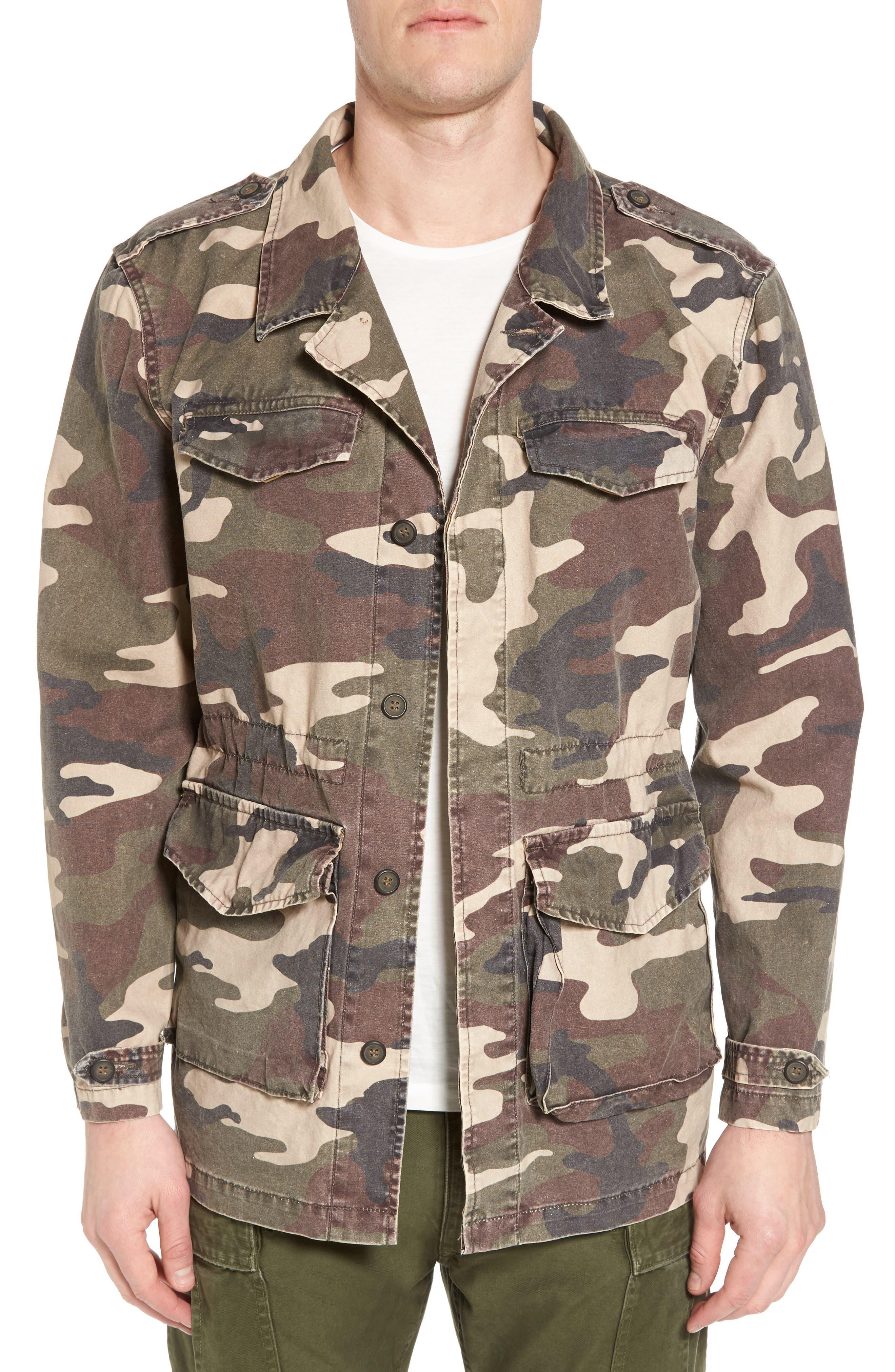 Denim Regular Fit Camo Field Jacket,                             Main thumbnail 1, color,                             300