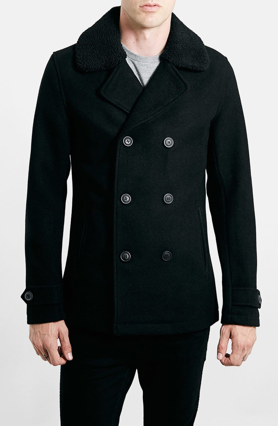TOPMAN,                             Peacoat with Removable Faux Fur Collar,                             Main thumbnail 1, color,                             001