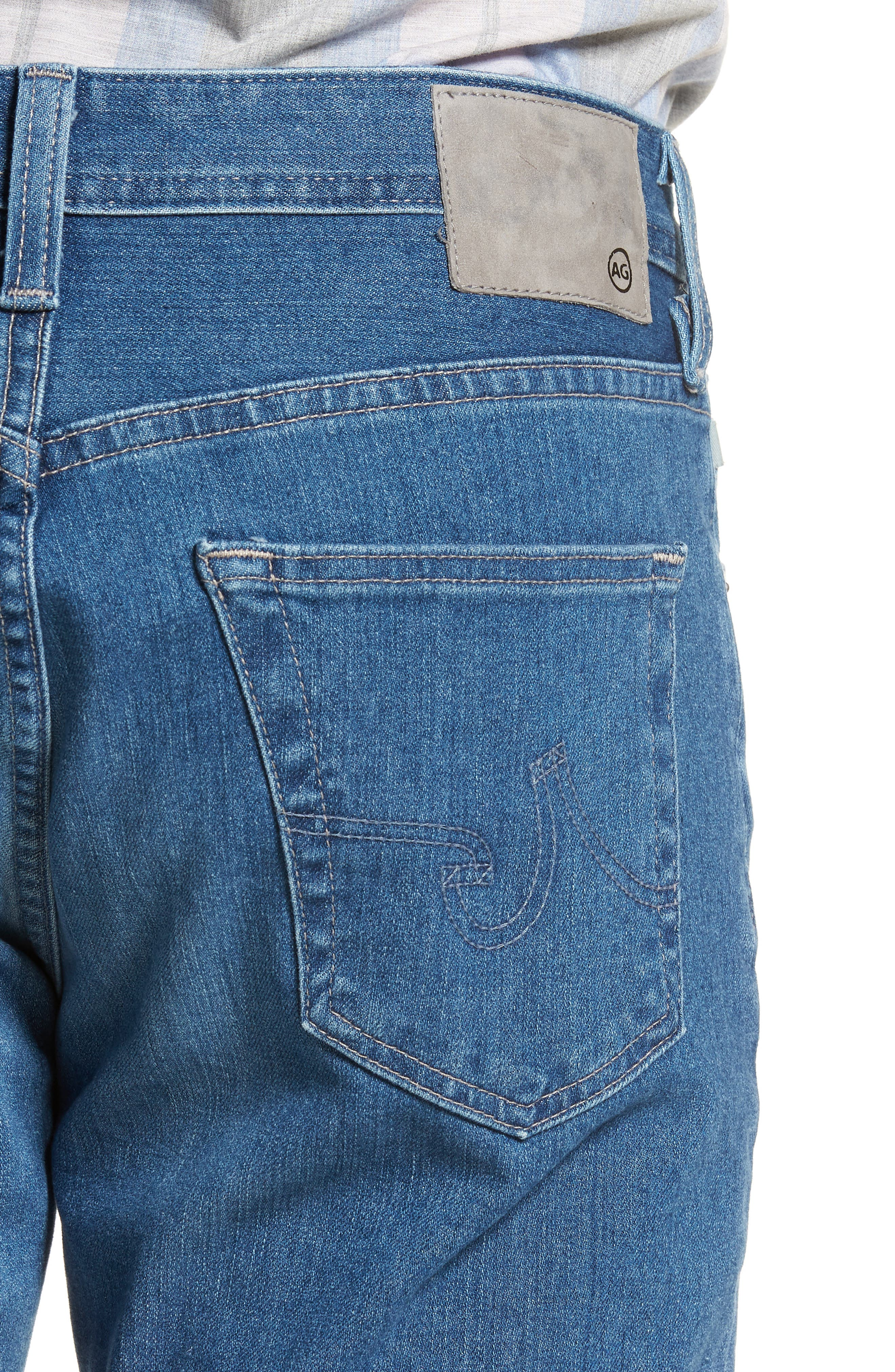 Everett Slim Straight Leg Jeans,                             Alternate thumbnail 4, color,                             SEA WAVE
