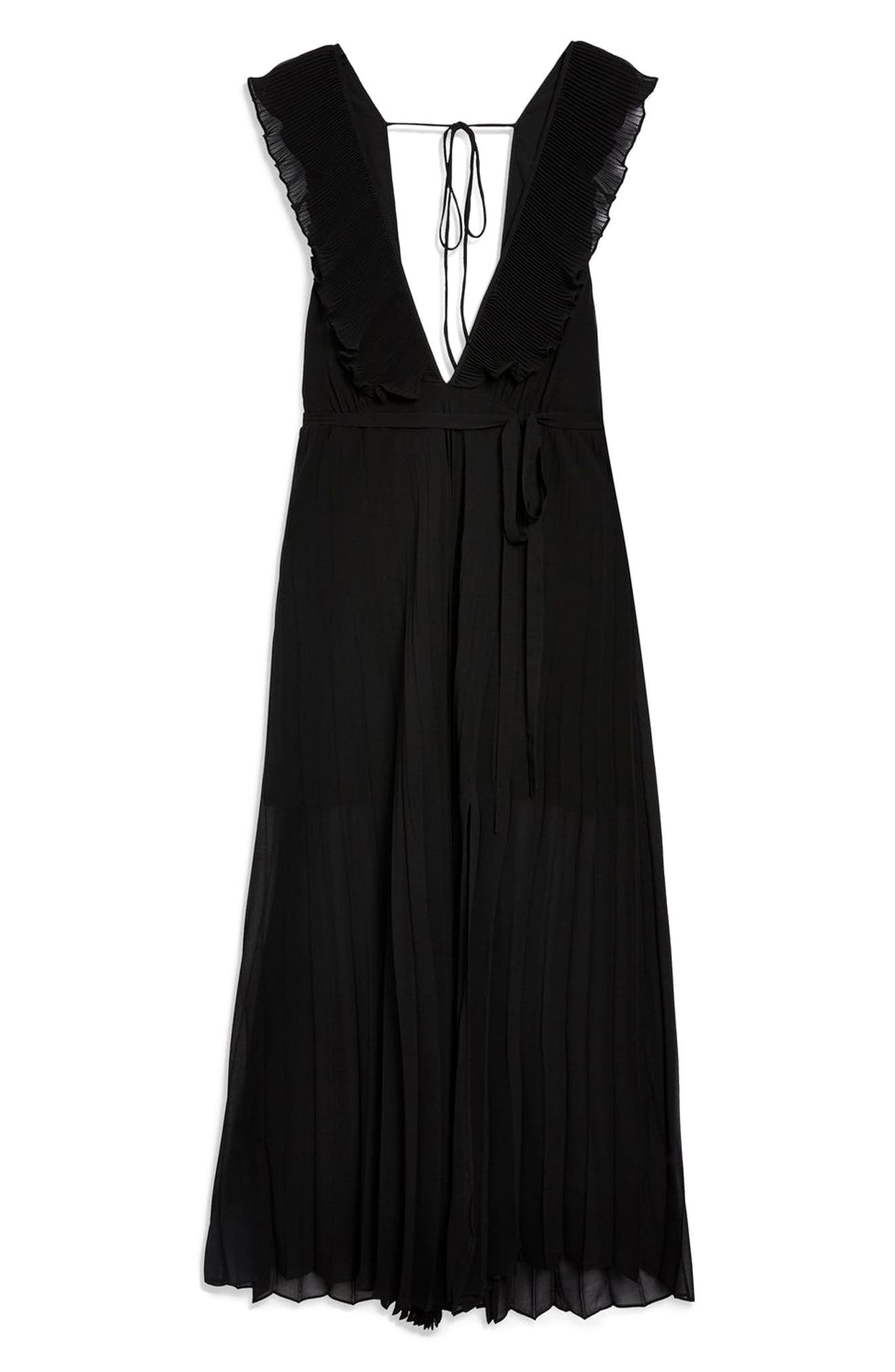 Pleated Plunge Chiffon Maxi Dress,                             Alternate thumbnail 6, color,                             001