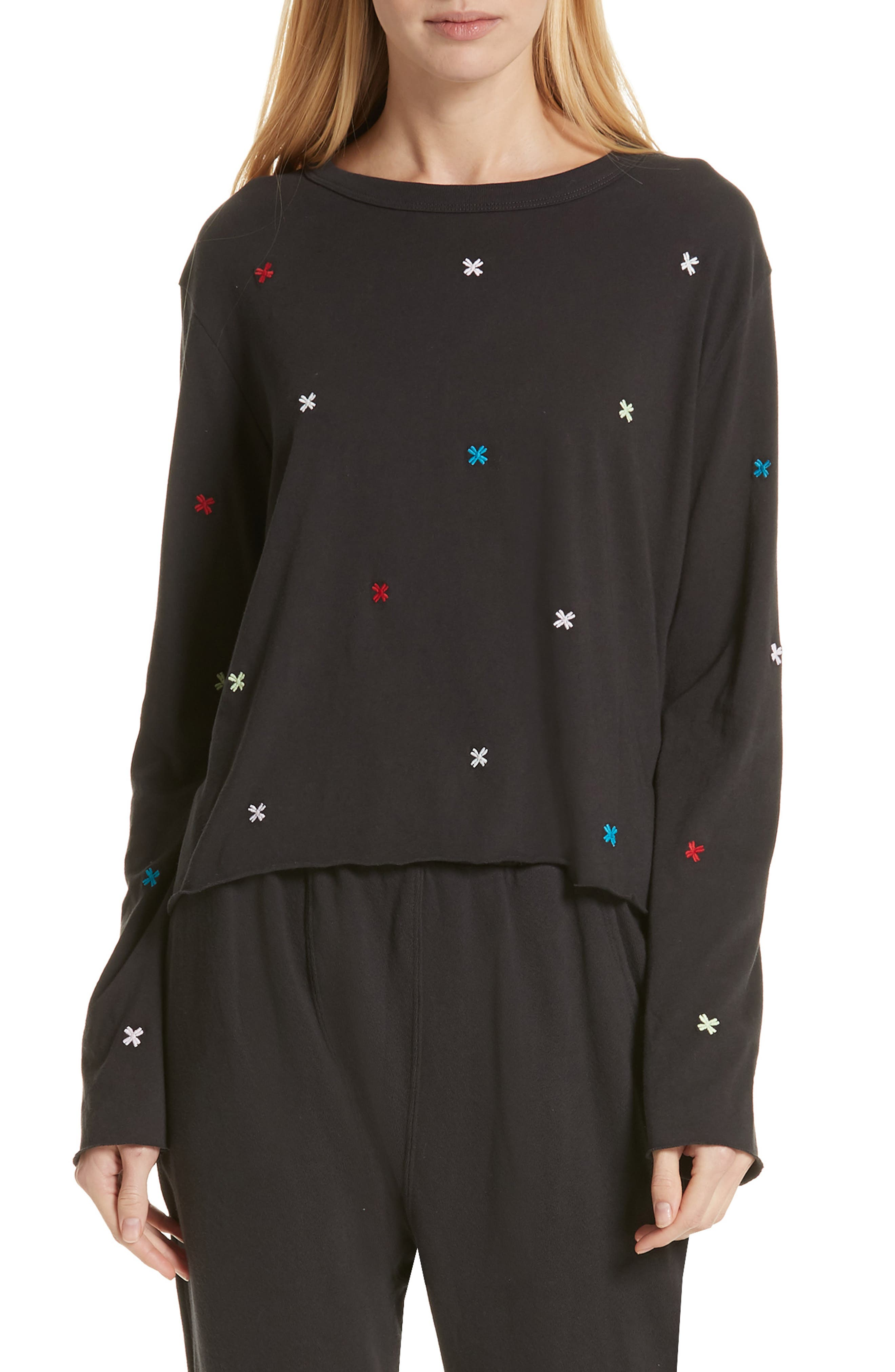 The Long Sleeve Embroidered Crop Tee,                             Main thumbnail 1, color,                             ALMOST BLACK/ MULTI