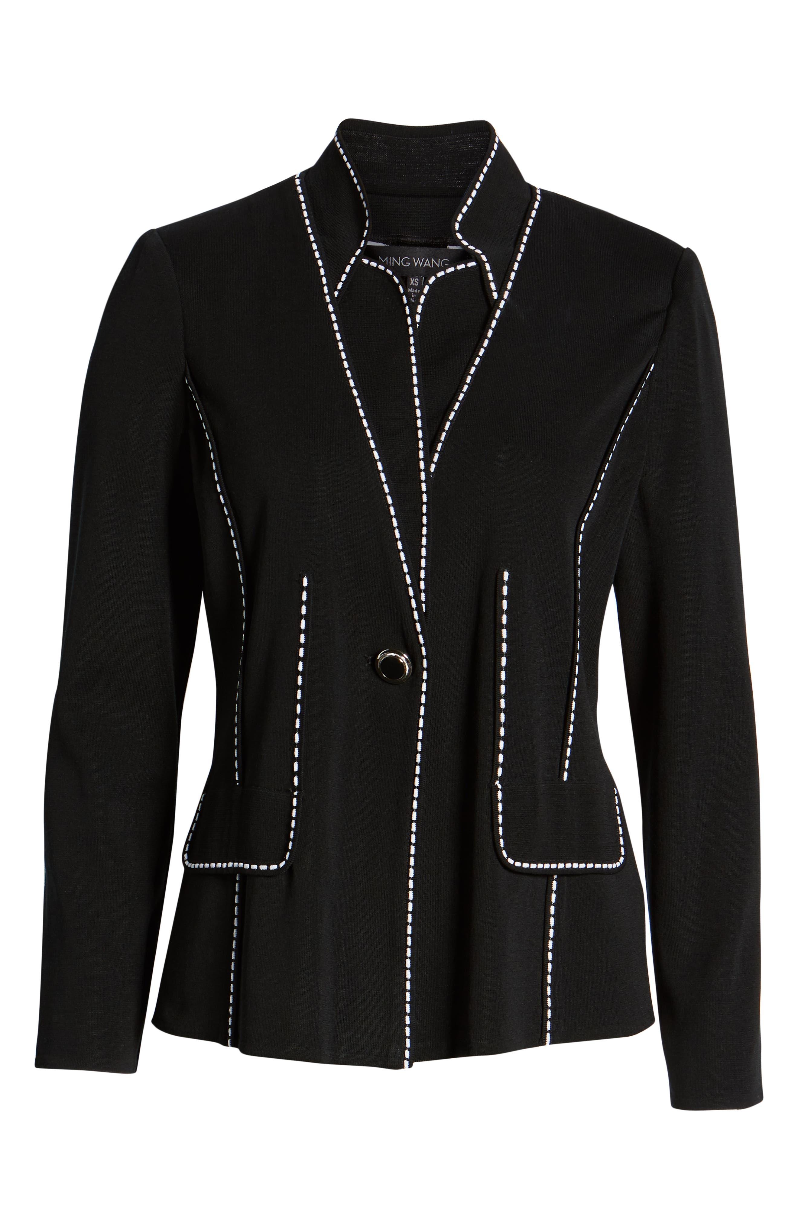 Contrast Jacquard Sweater Jacket,                             Alternate thumbnail 6, color,                             BLACK/ WHITE
