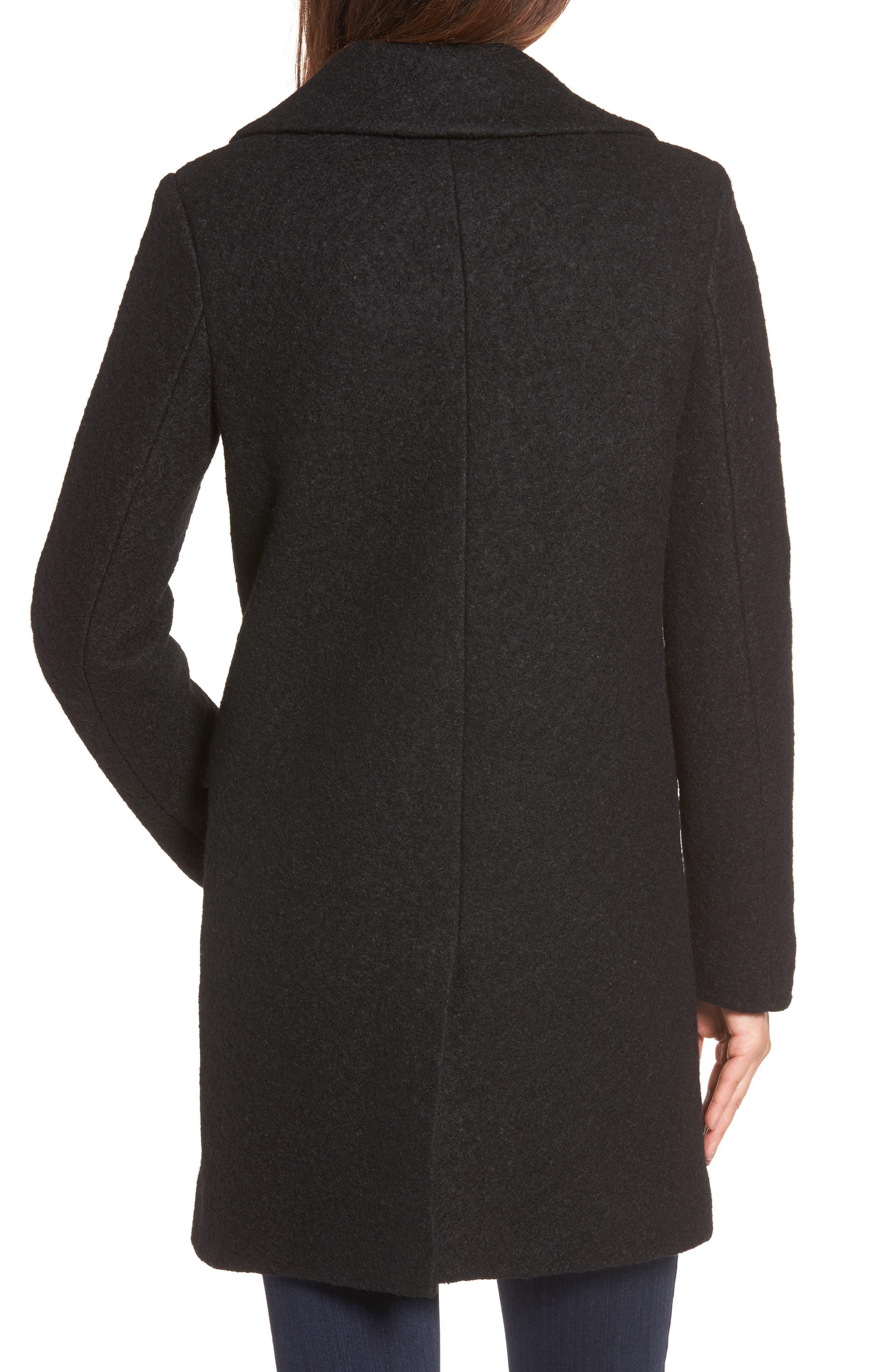 Wool Blend Bouclé Coat,                             Alternate thumbnail 2, color,                             BLACK