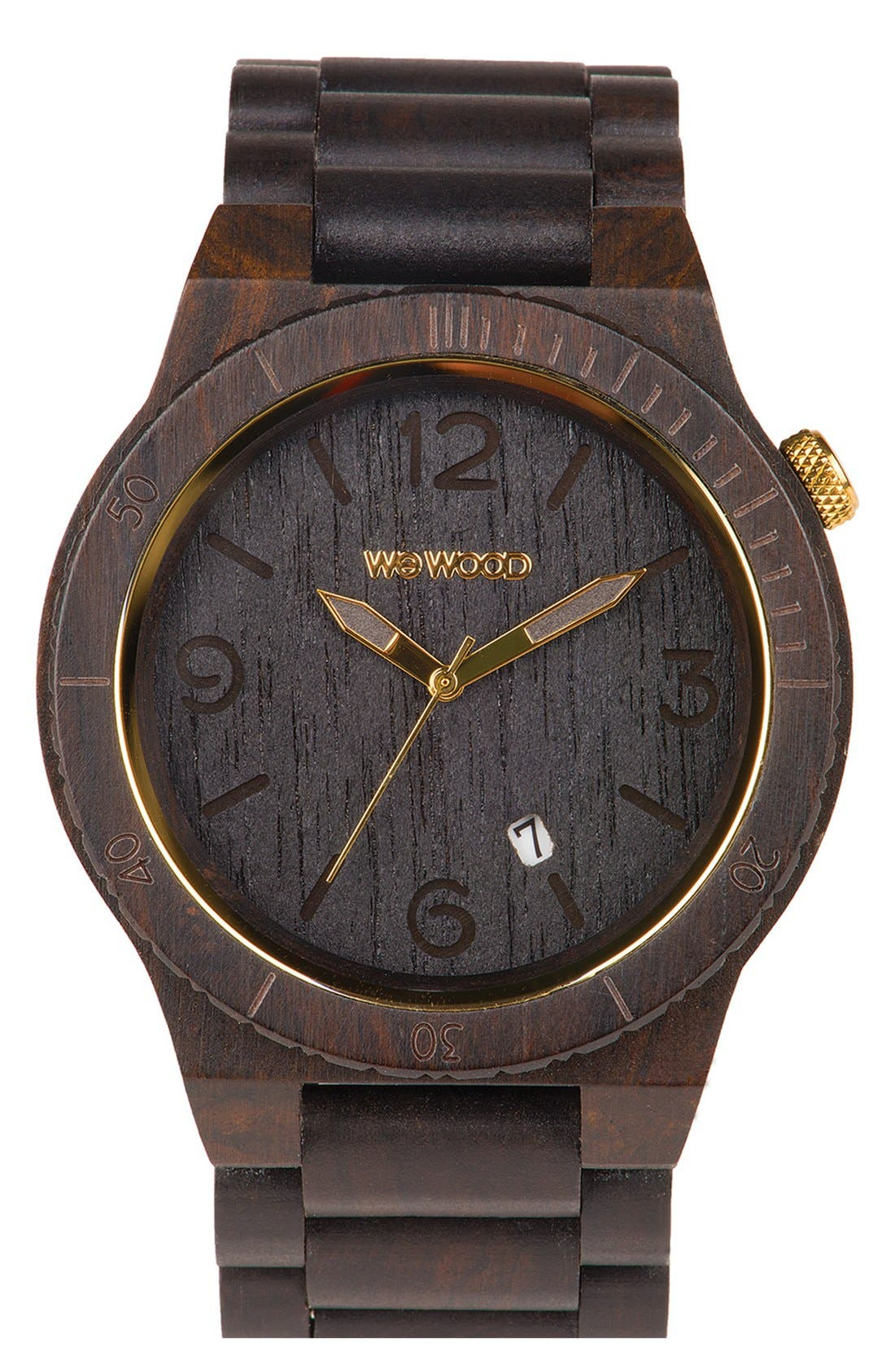 'Alpha' Wood Bracelet Watch, 46mm,                             Main thumbnail 1, color,                             001
