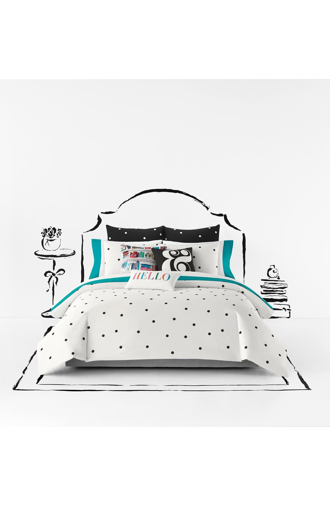 polka dot duvet cover & shams,                             Main thumbnail 2, color,