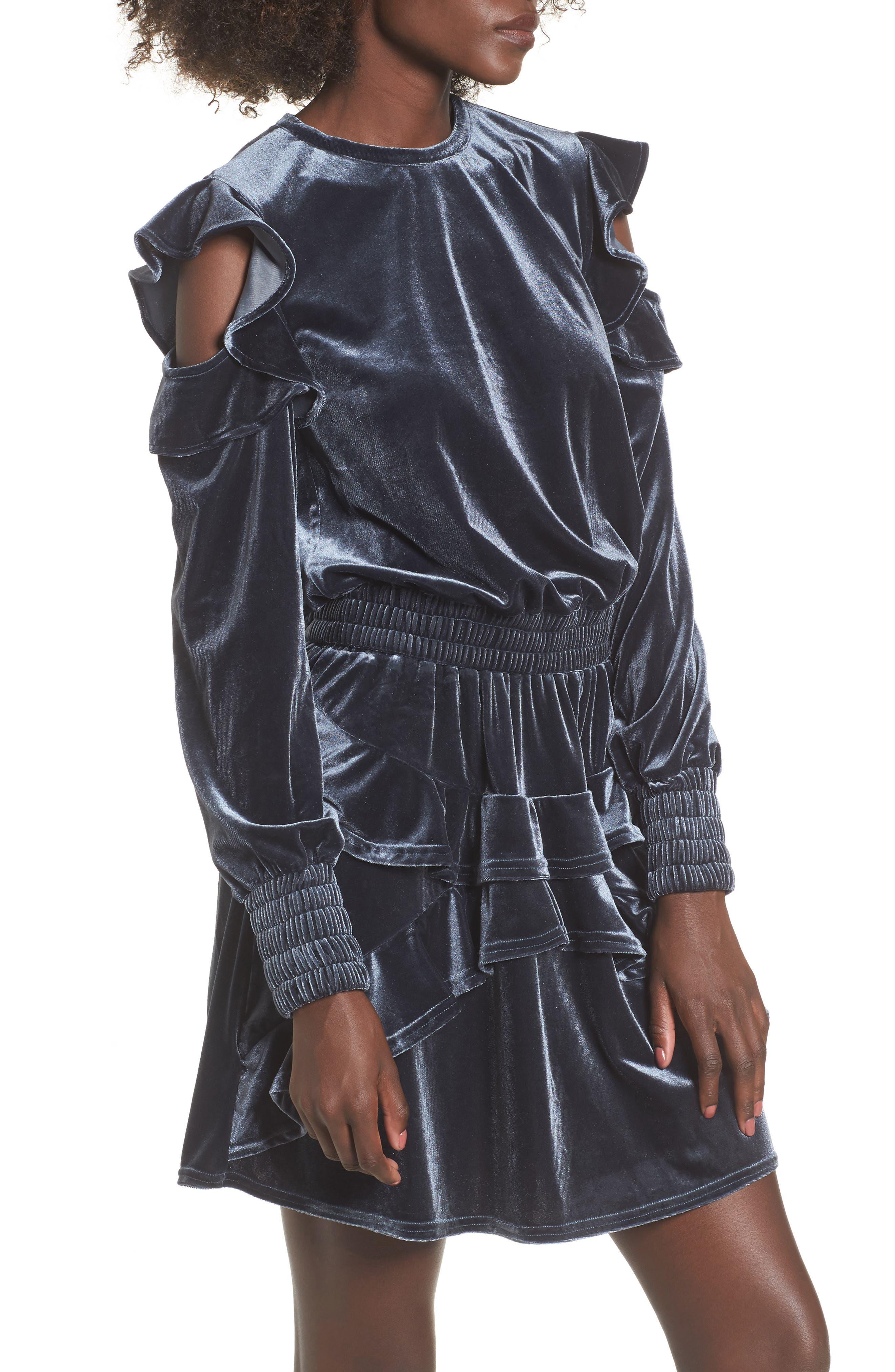 Exhibition Ruffle Cold Shoulder Velvet Top,                         Main,                         color,