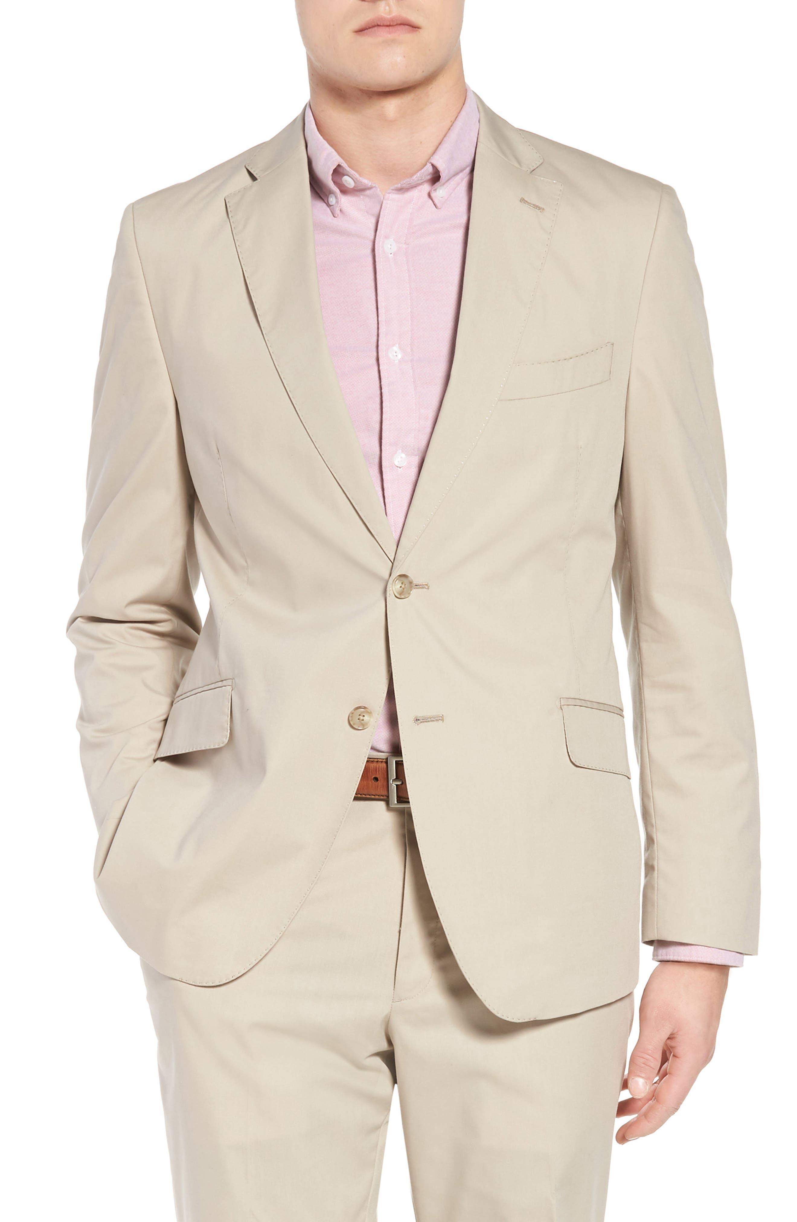 Irons AIM Classic Fit Solid Cotton Blend Suit,                             Alternate thumbnail 5, color,                             BEIGE