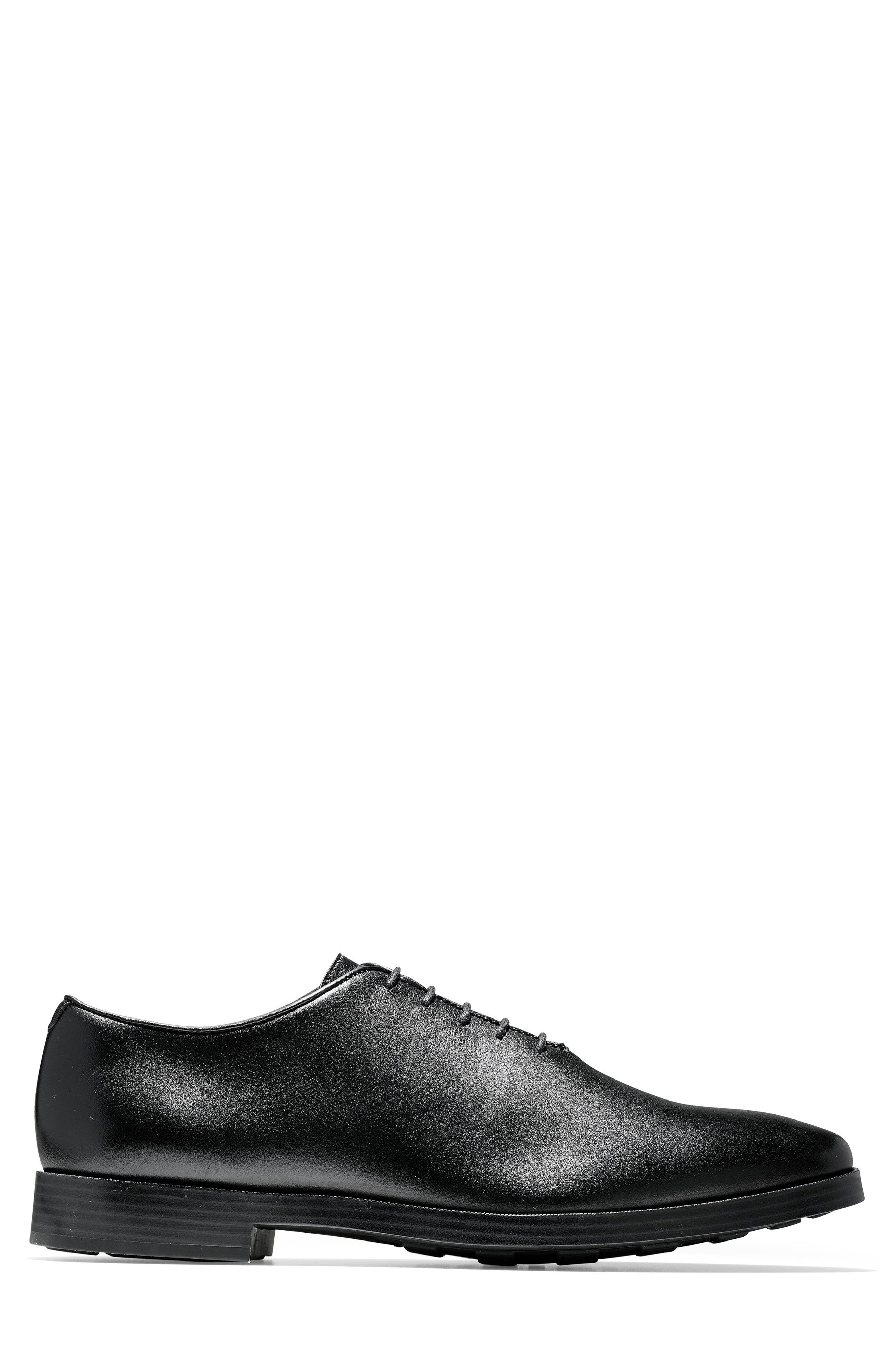 Jefferson Waterproof Wholecut Oxford,                             Alternate thumbnail 3, color,                             BLACK LEATHER