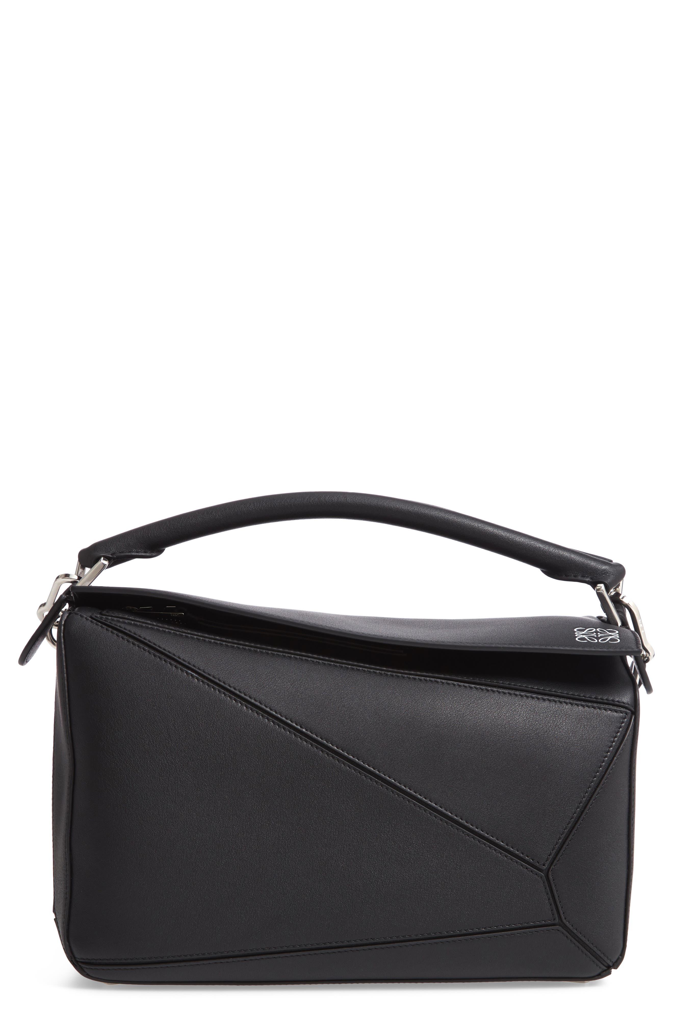 Medium Puzzle Bag,                             Main thumbnail 1, color,                             BLACK