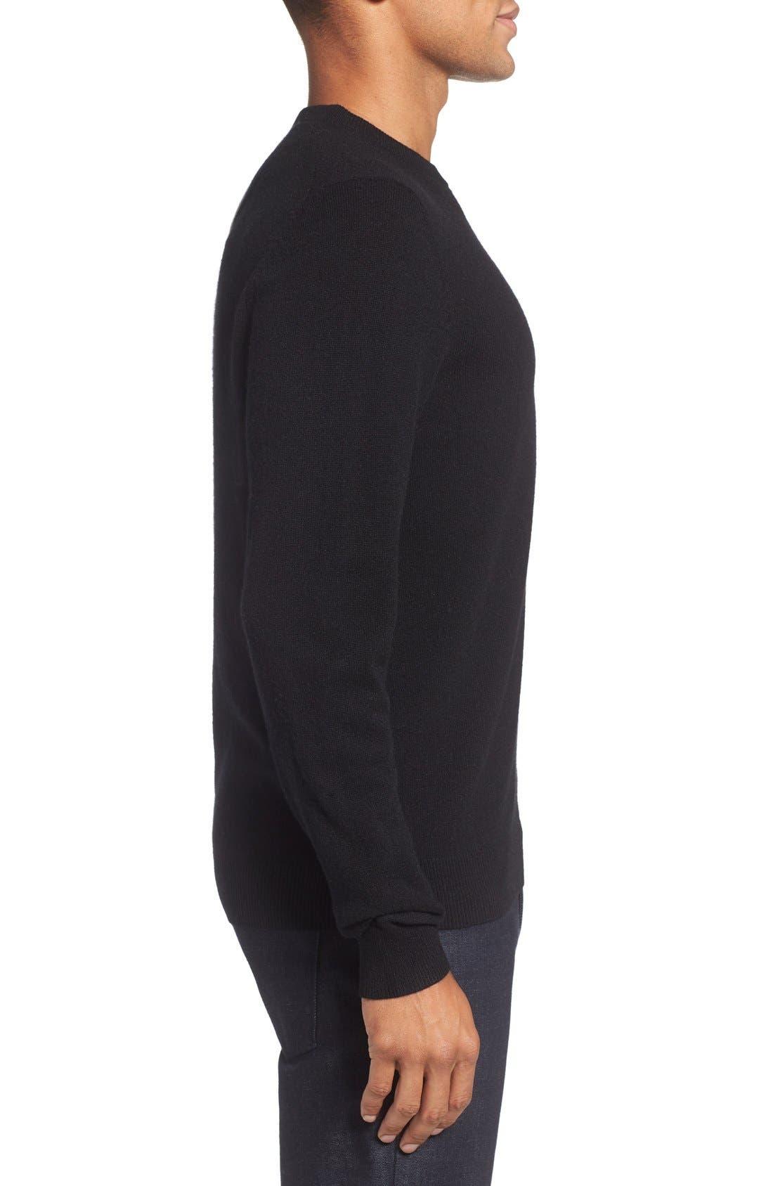 Cashmere Crewneck Sweater,                             Alternate thumbnail 3, color,                             BLACK CAVIAR