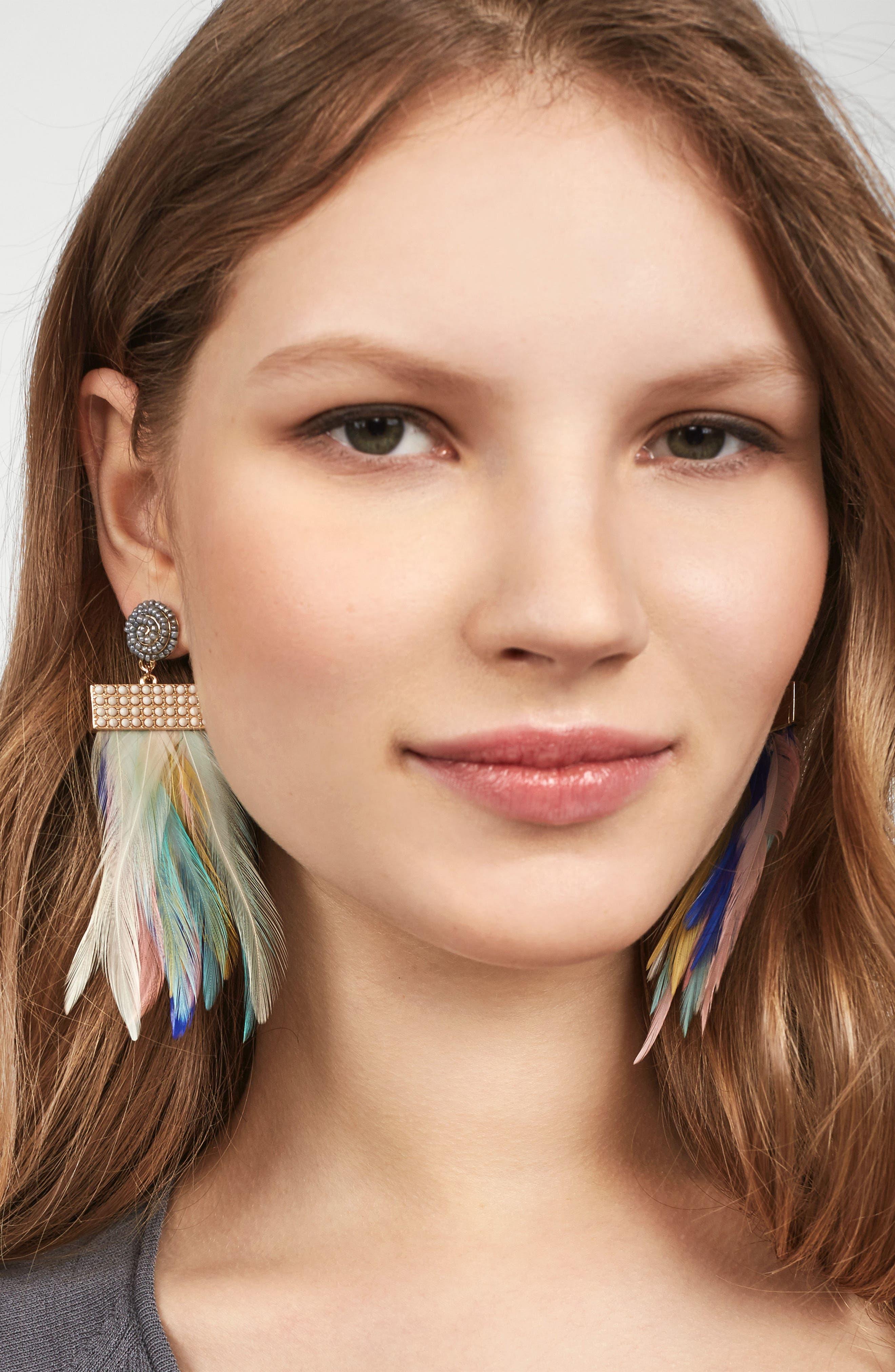 Fluoro Feather Drop Earrings,                             Alternate thumbnail 2, color,                             400