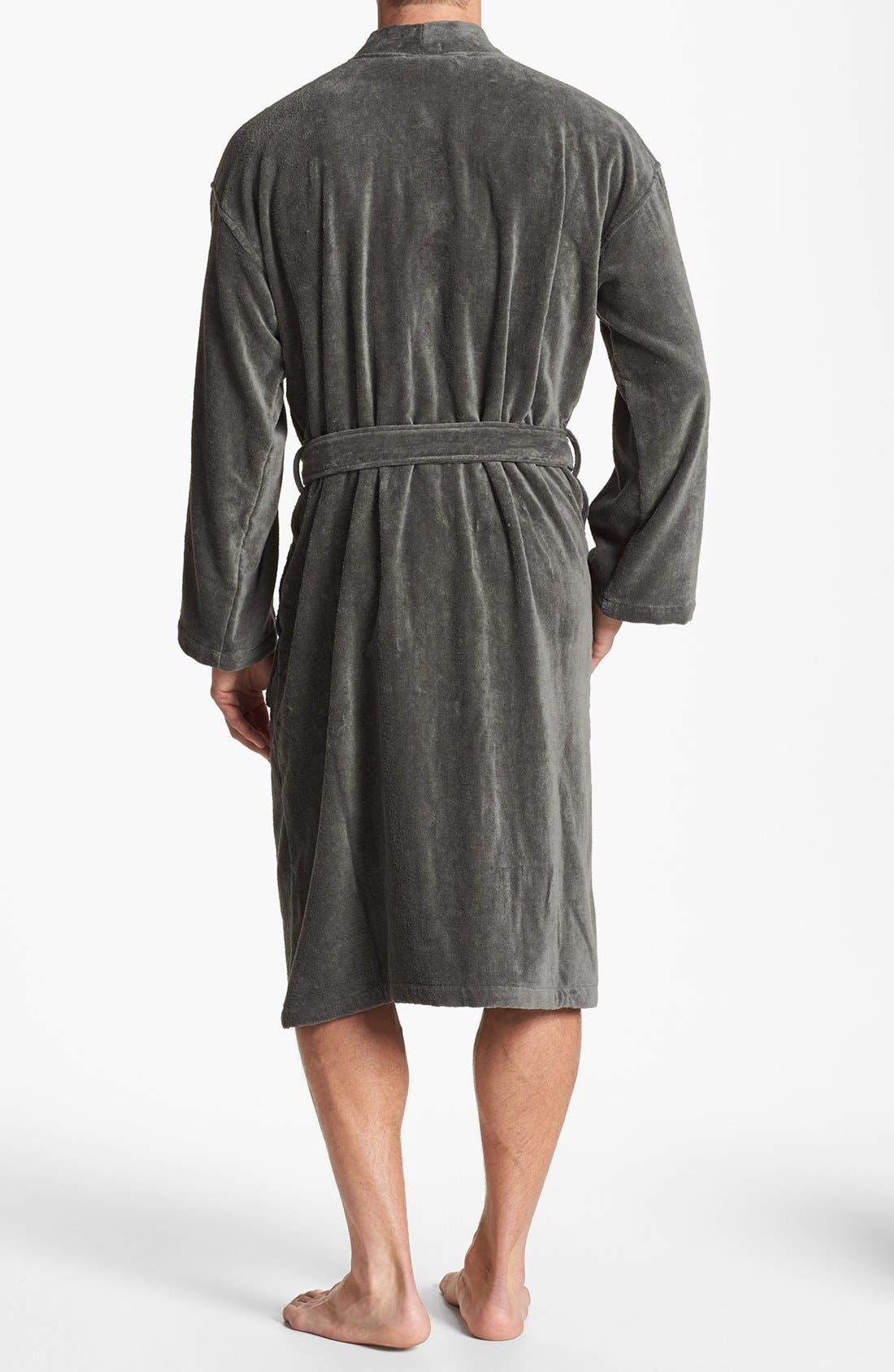 Cotton Fleece Robe,                             Alternate thumbnail 2, color,                             001