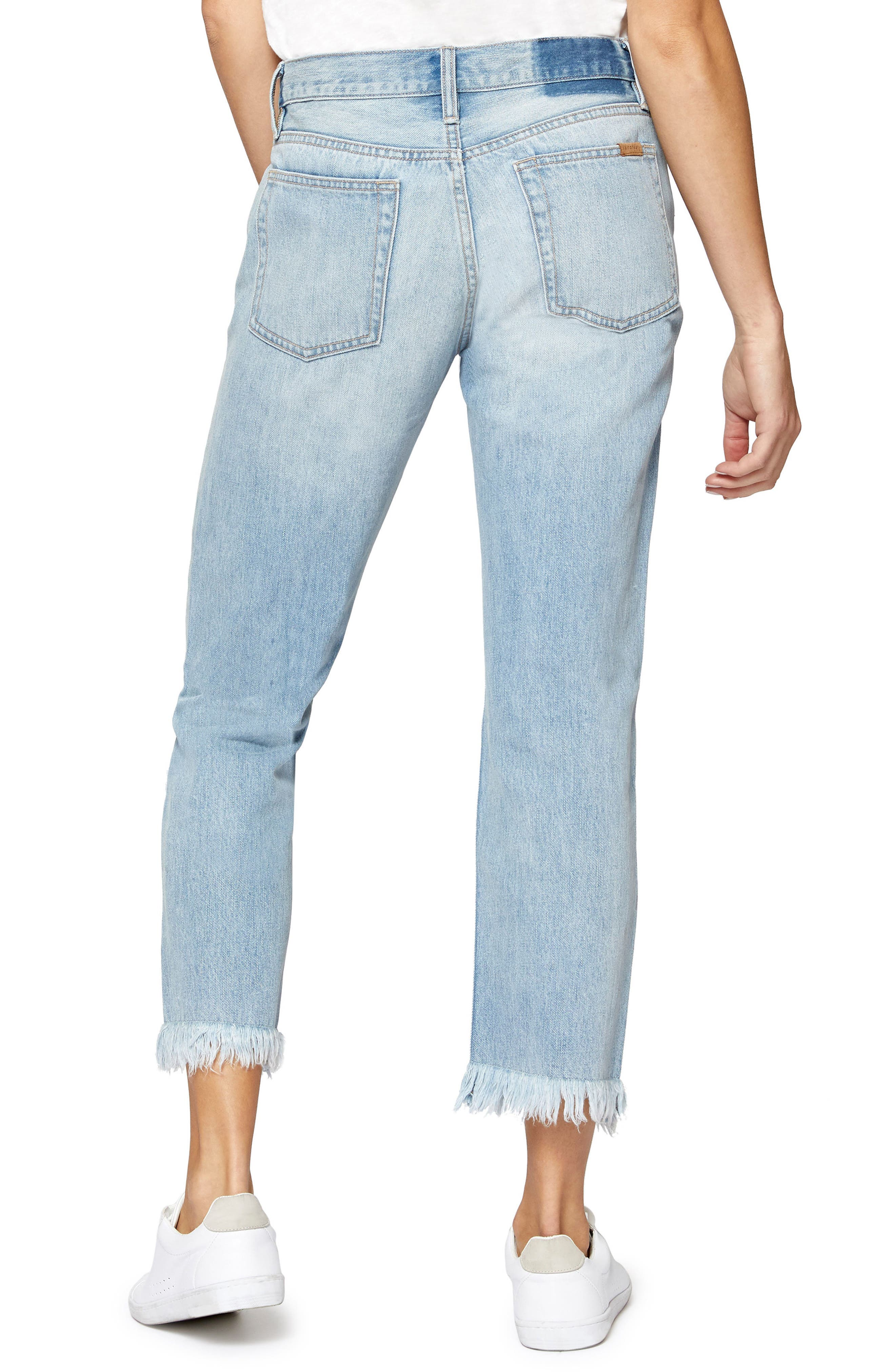 Straight Leg Fray Hem Boyfriend Jeans,                             Alternate thumbnail 2, color,                             451