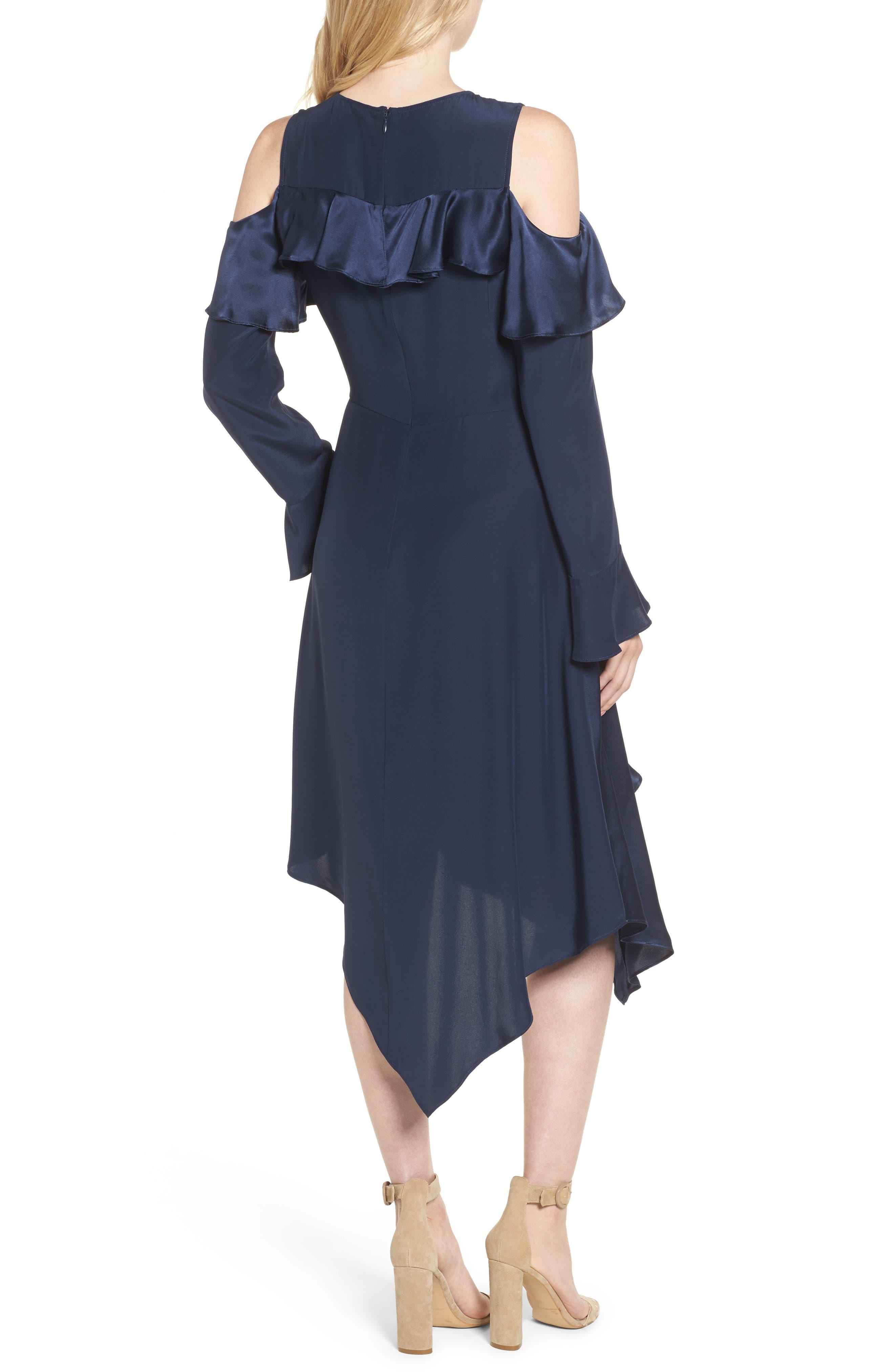 Nadeen Ruffle Cold Shoulder A-Line Dress,                             Alternate thumbnail 2, color,                             004