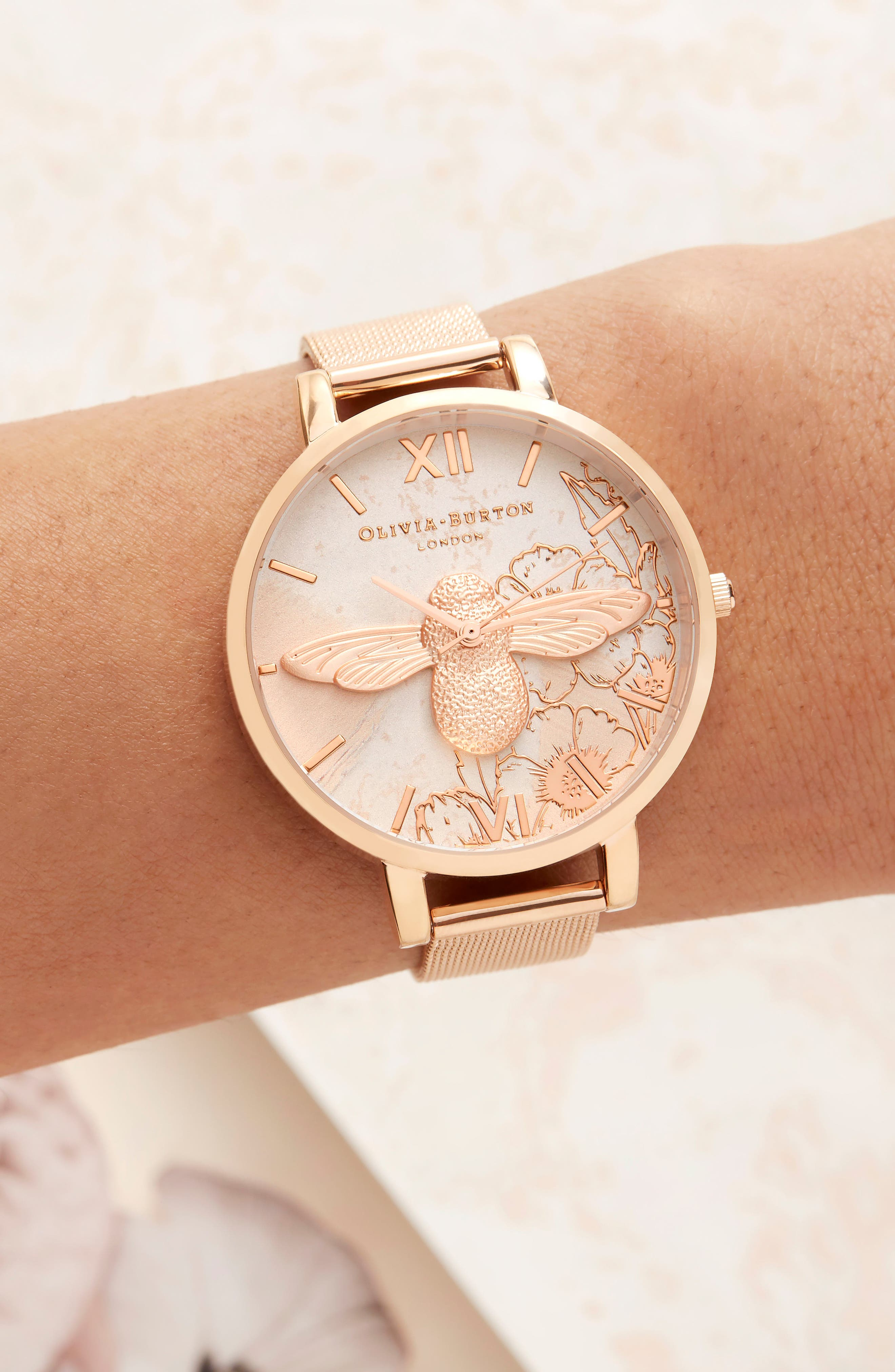 Abstract Floral Mesh Strap Watch, 38mm,                             Alternate thumbnail 6, color,                             ROSE GOLD/ FLORAL/ ROSE GOLD