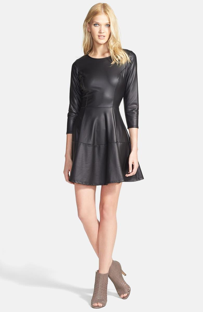 June   Hudson Faux Leather Skater Dress  a2c3d9484
