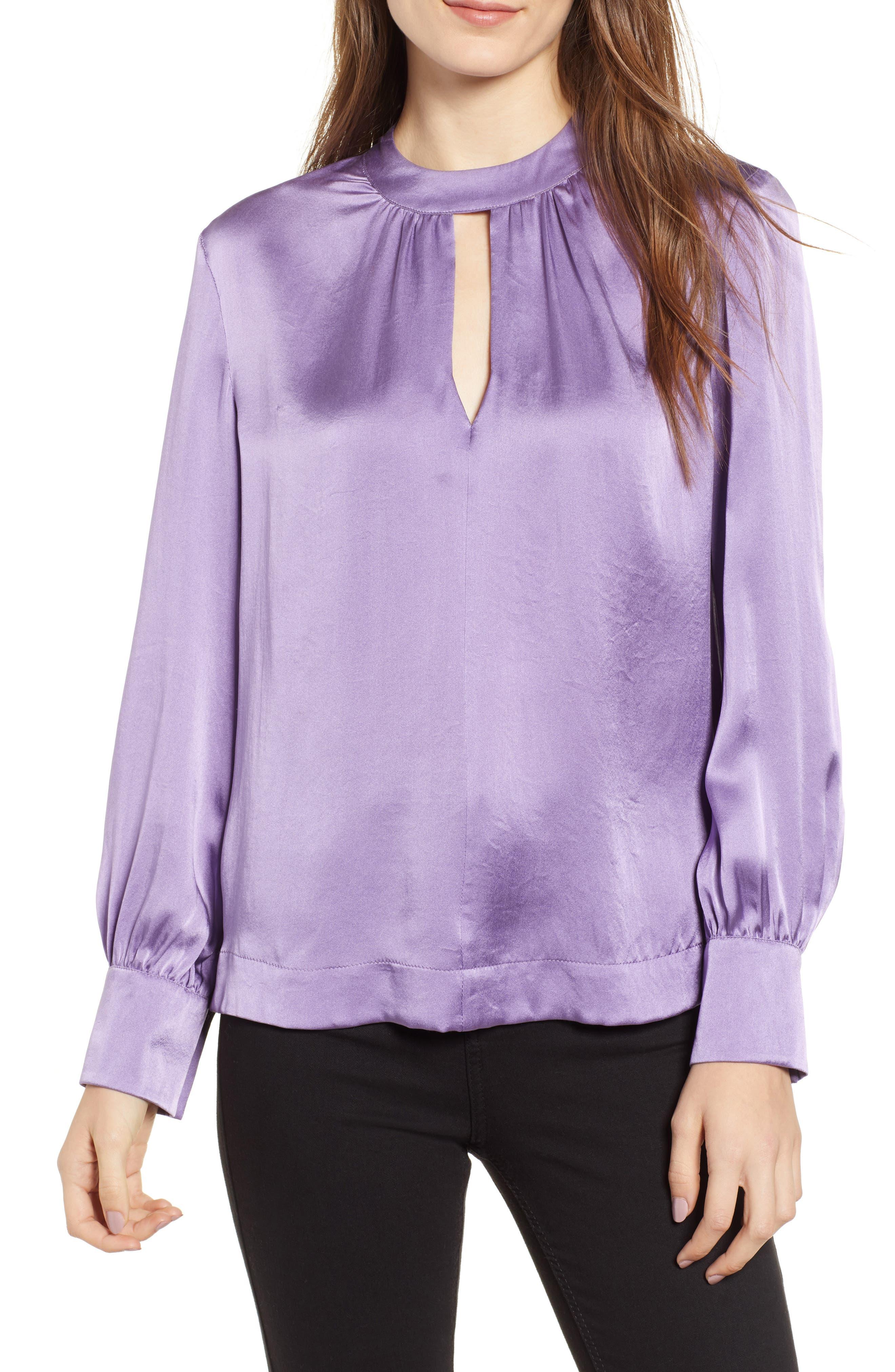 Cora Silk Blouse,                         Main,                         color, LILAC