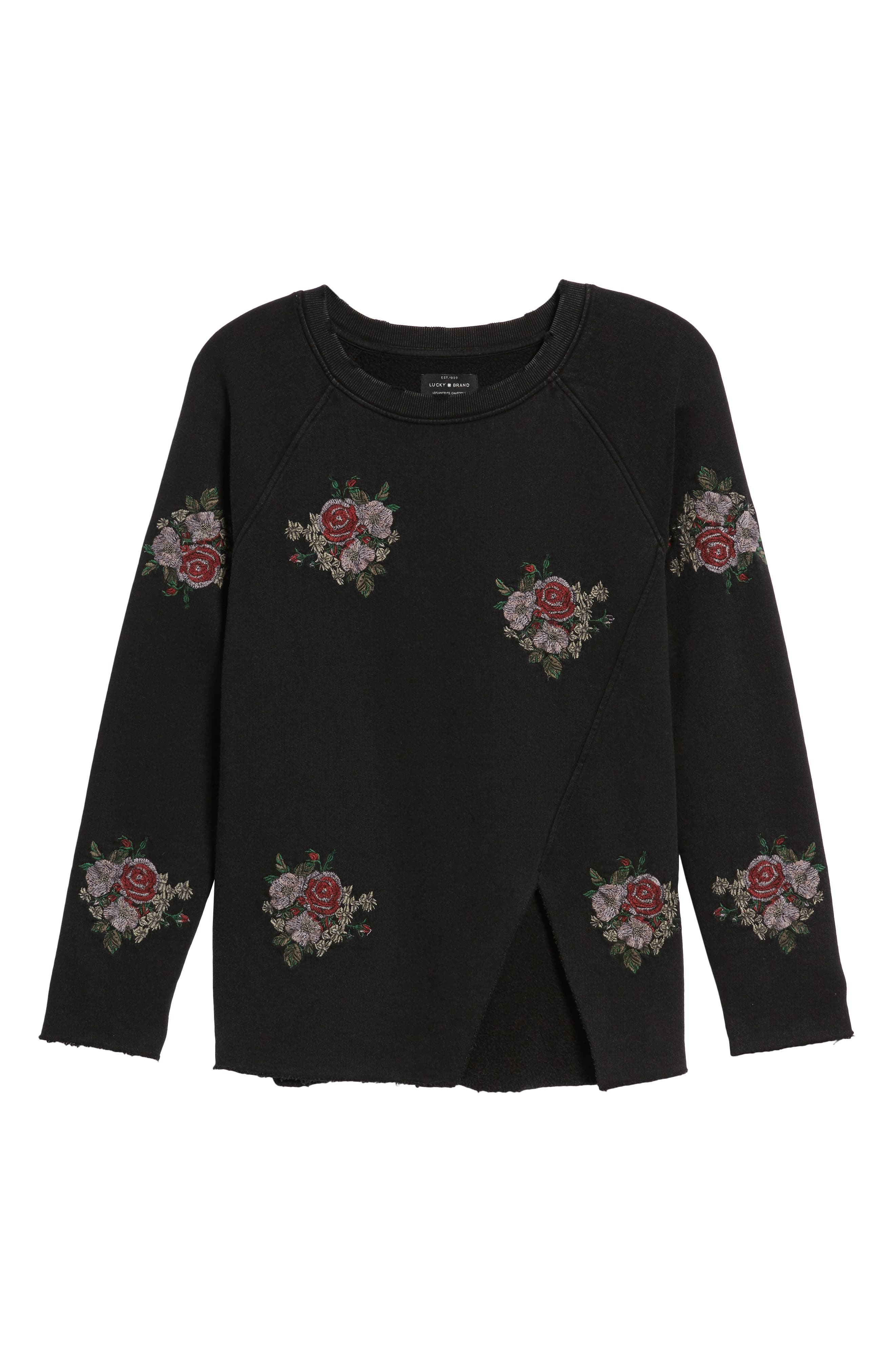 Embroidered Distressed Sweatshirt,                             Alternate thumbnail 6, color,
