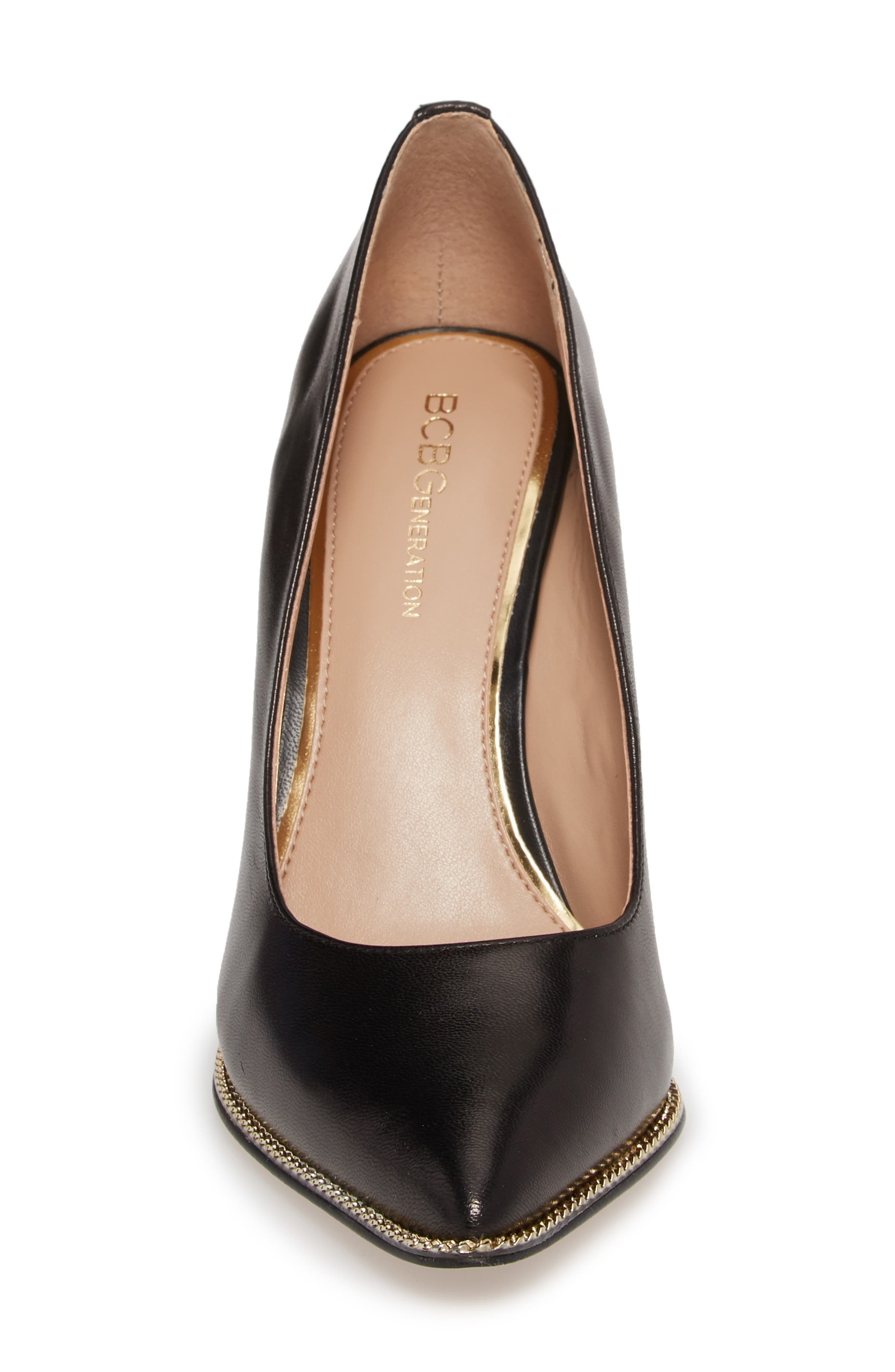 Harleigh Pointy Toe Pump,                             Alternate thumbnail 4, color,                             BLACK LEATHER