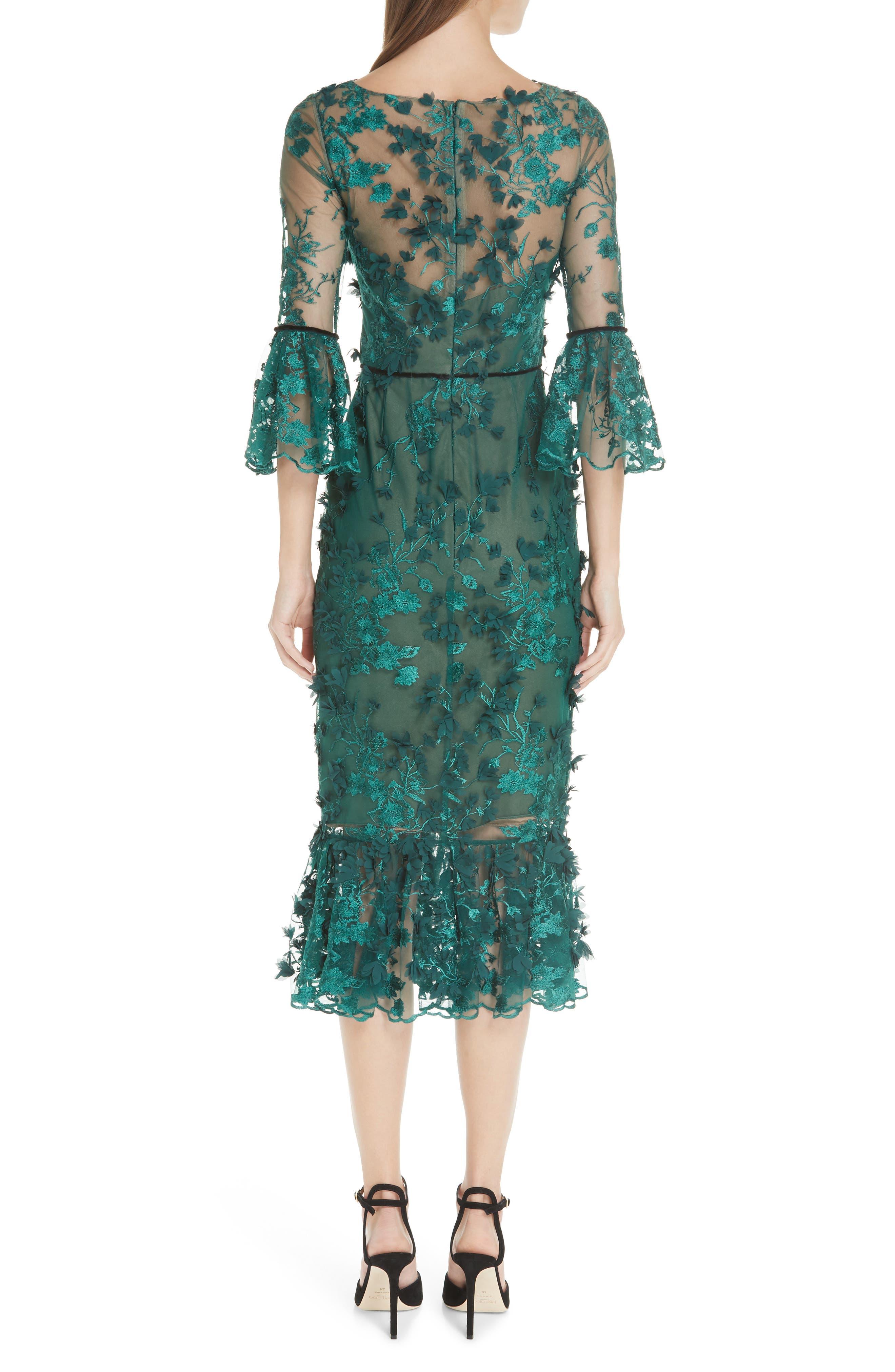MARCHESA NOTTE,                             Embroidered Ruffle Trim Sheath Dress,                             Alternate thumbnail 2, color,                             300