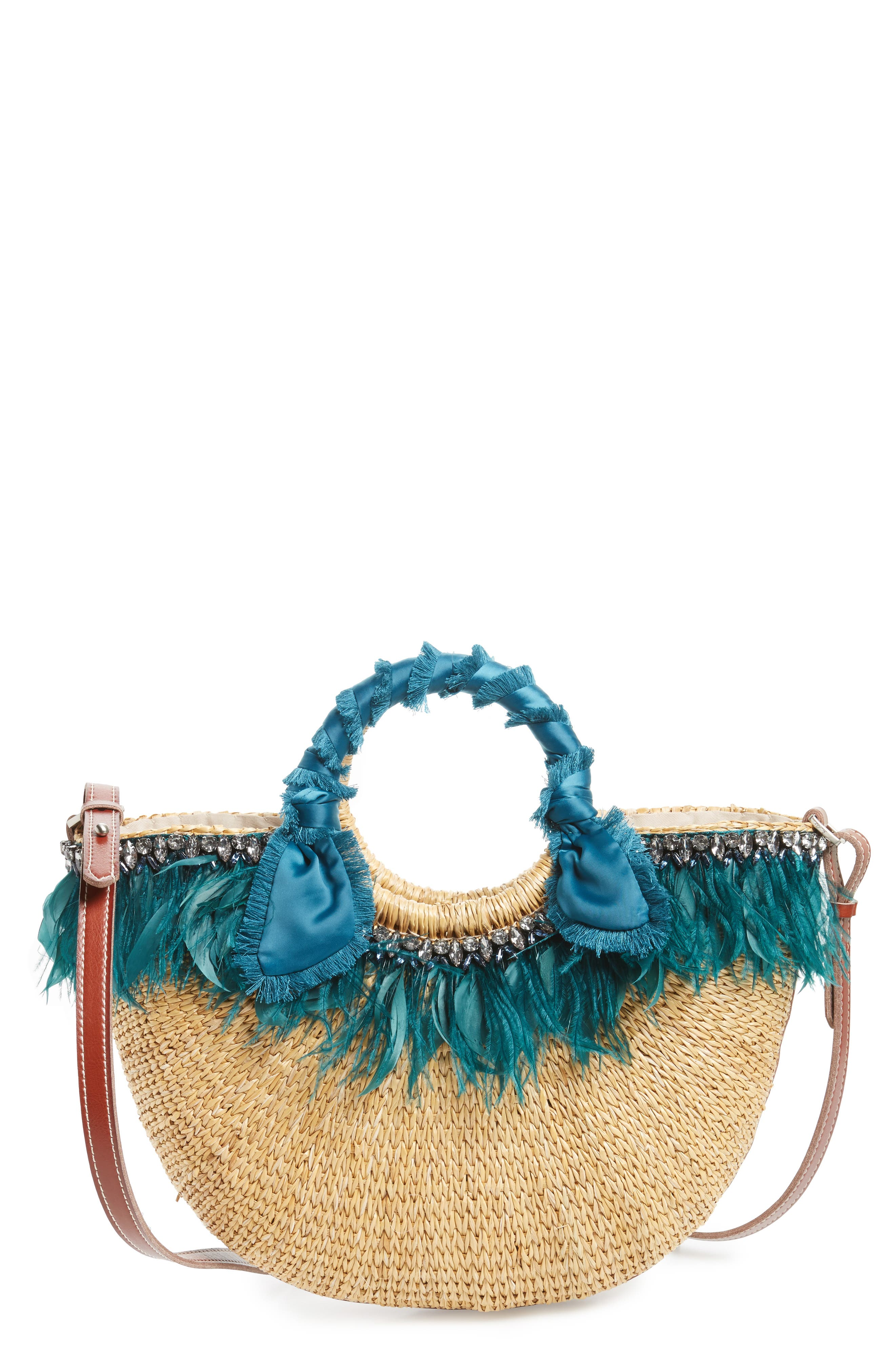 Eliya Feather Straw Tote,                         Main,                         color, 250