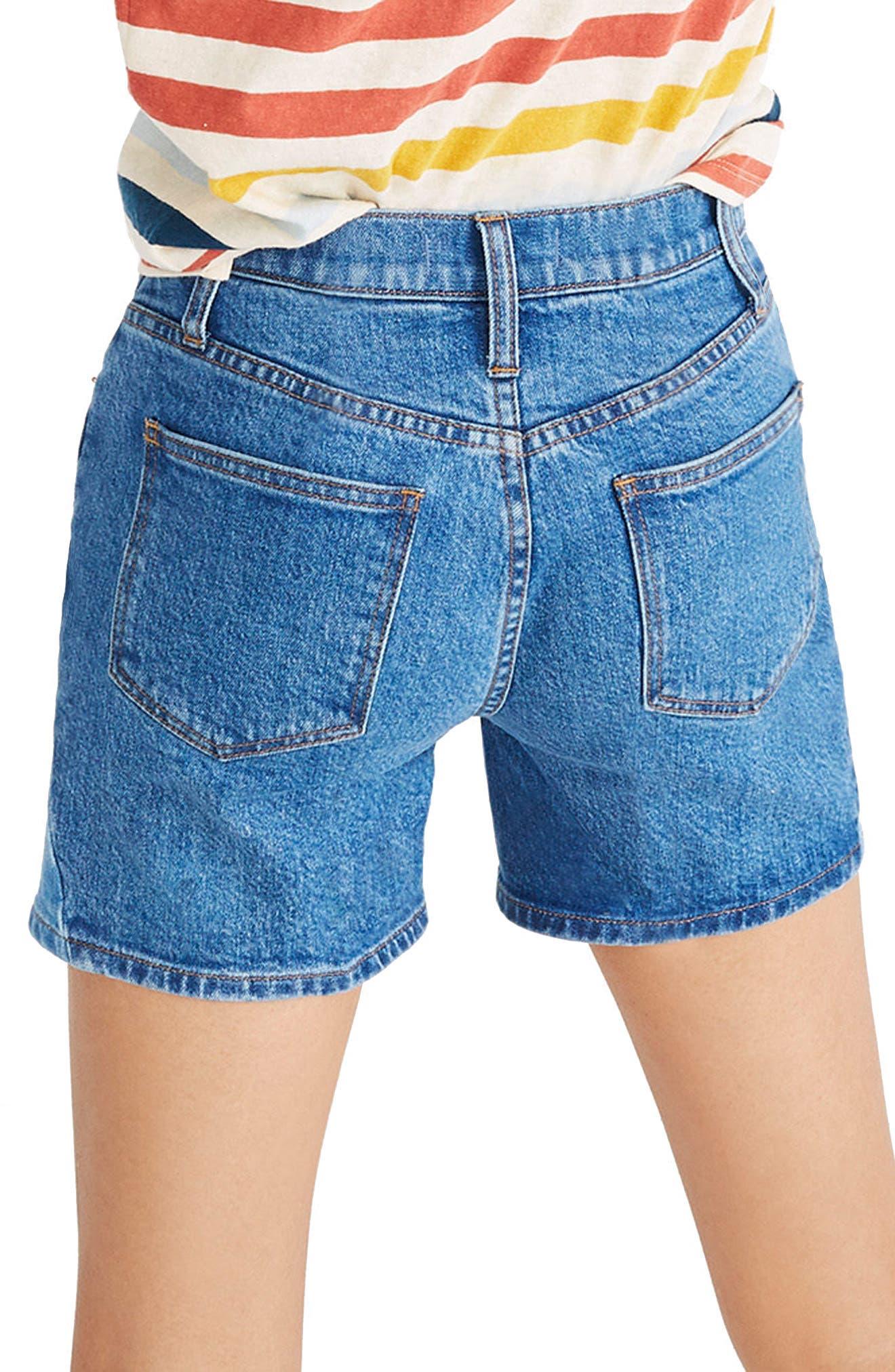 High Waist Pieced Denim Shorts,                             Alternate thumbnail 2, color,                             400