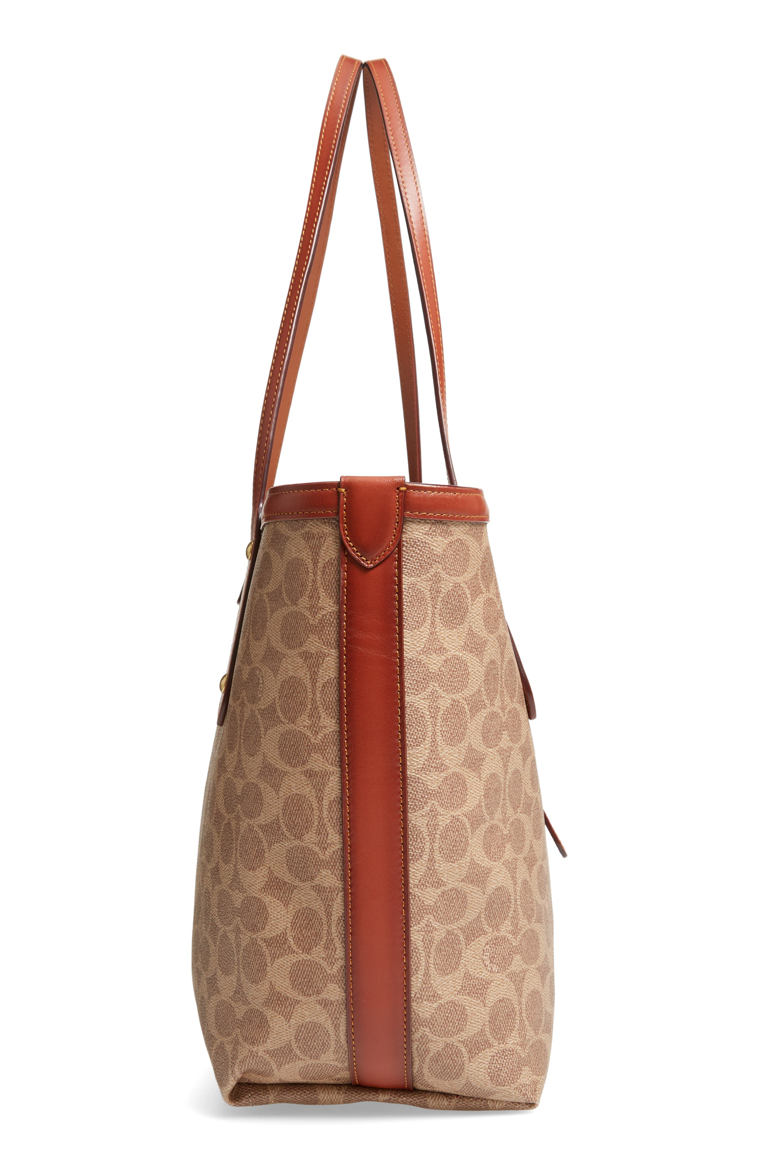 Market Logo Faux Leather Tote,                             Alternate thumbnail 5, color,                             200