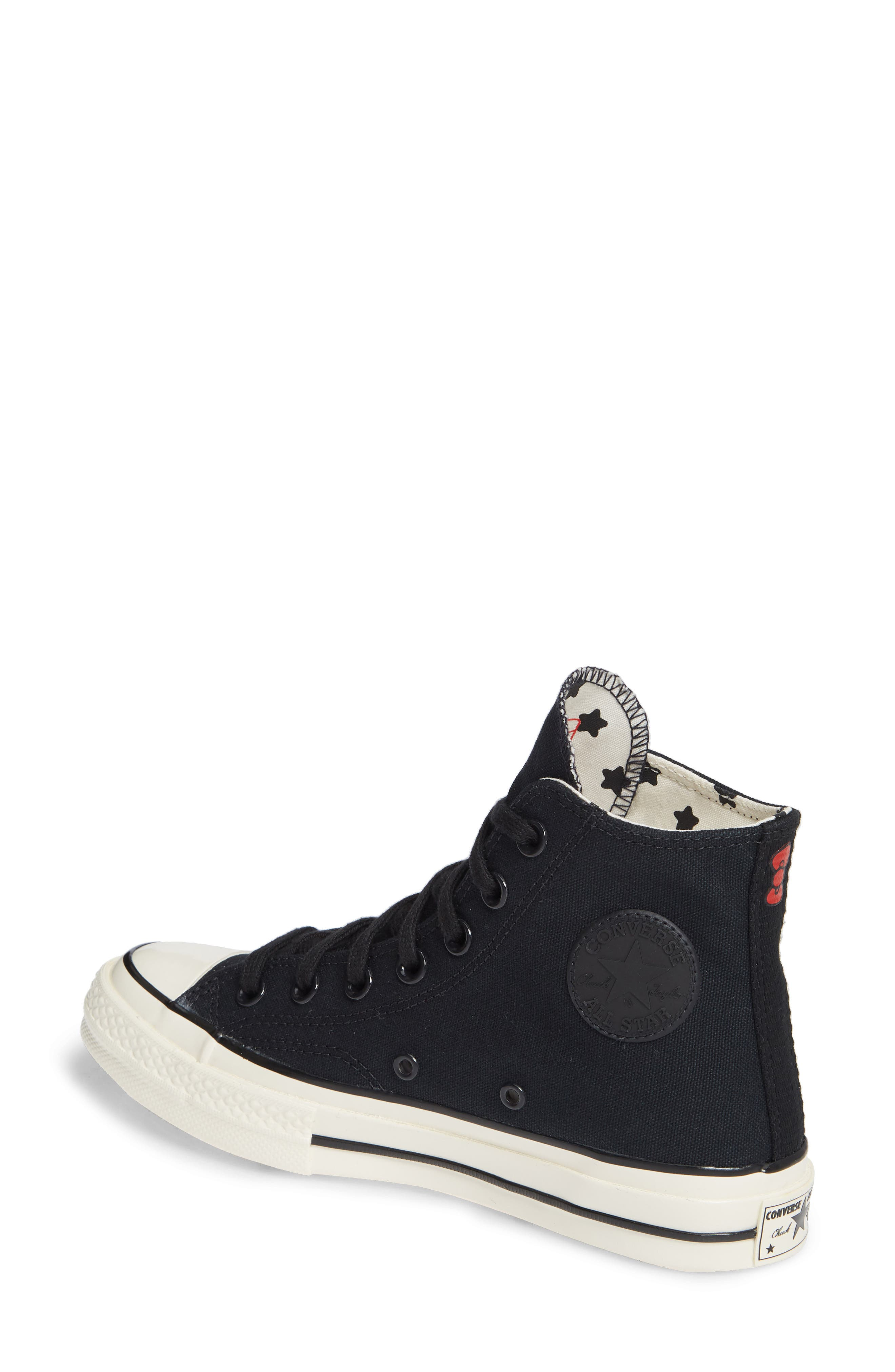 x Hello Kitty<sup>®</sup> Chuck Taylor<sup>®</sup> All Star<sup>®</sup> CT 70 High Top Sneaker,                             Alternate thumbnail 2, color,                             CONVERSE BLACK
