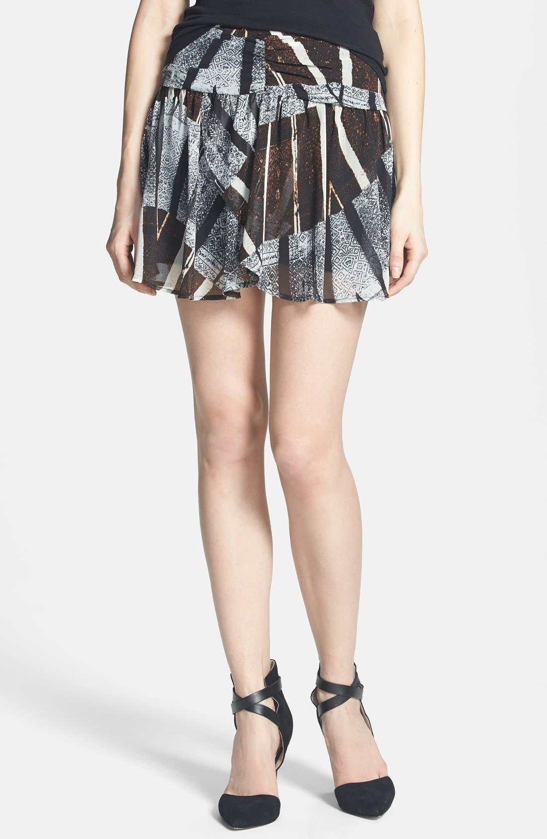 ASTR Ruched Waist Chiffon Miniskirt,                         Main,                         color, 001