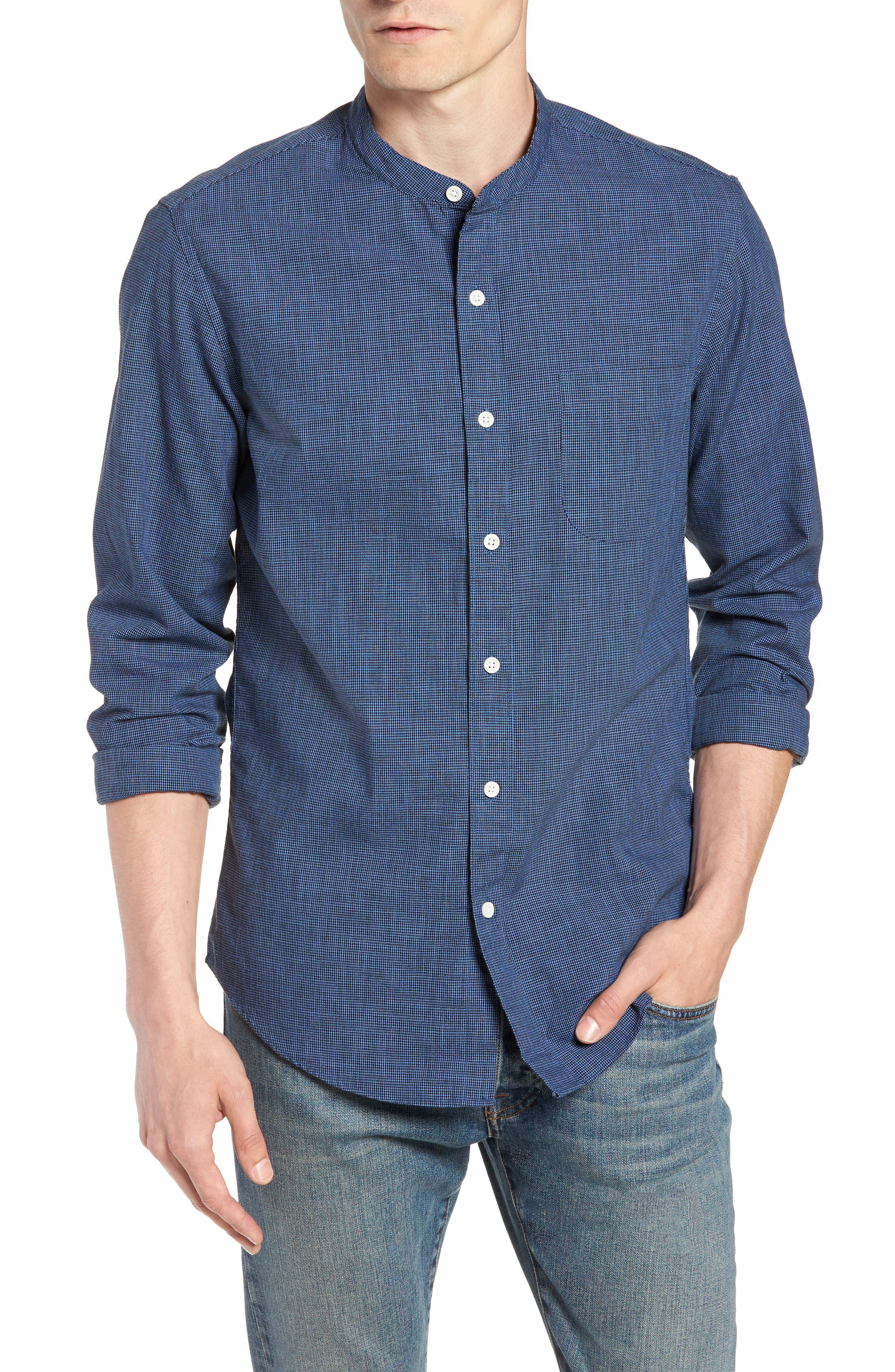 Slim Fit Band Collar Shirt,                             Main thumbnail 1, color,                             DARK EVENING