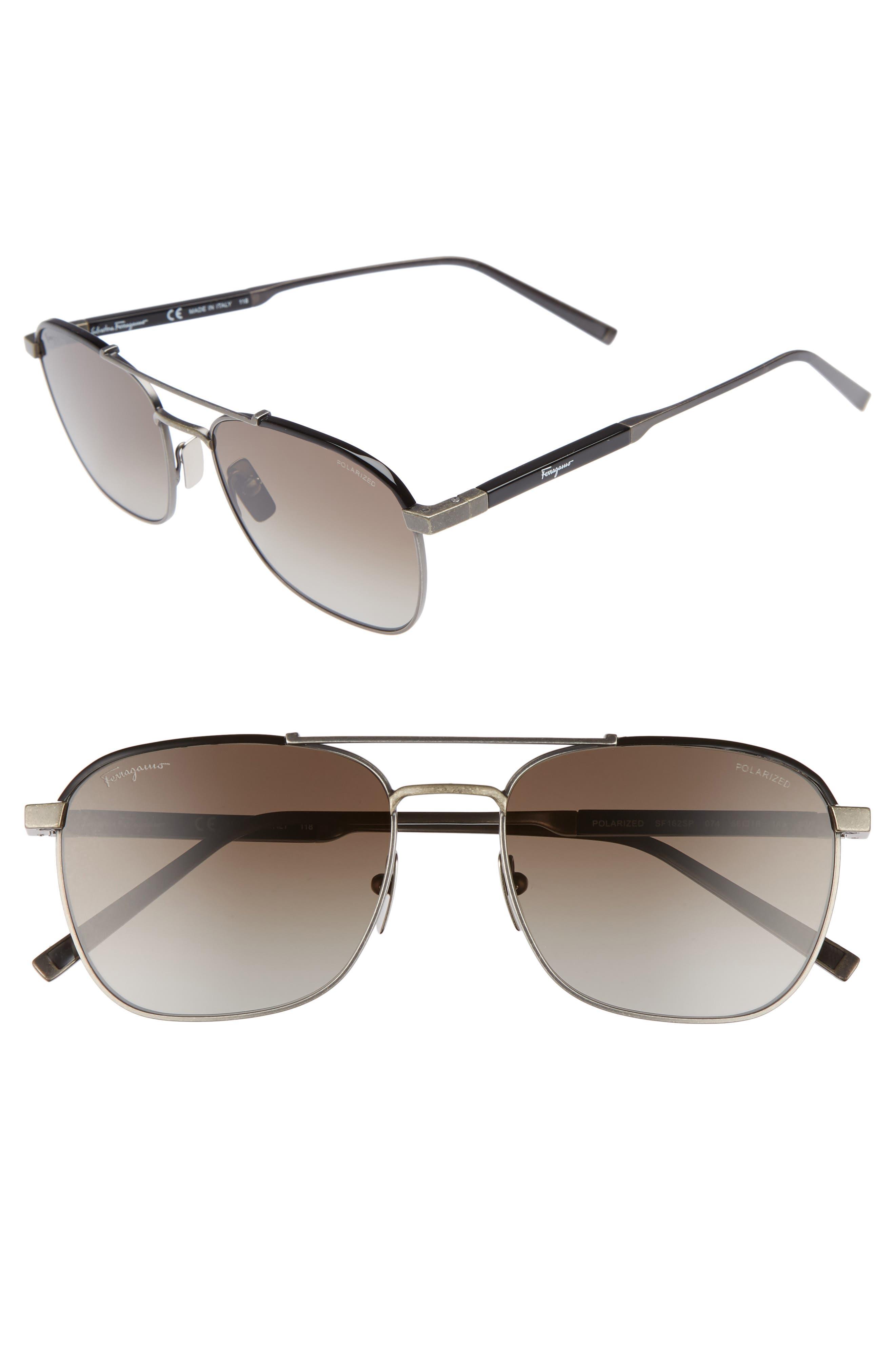 Classic Logo 56mm Polarized Aviator Sunglasses,                         Main,                         color, ANTIQUE RUTHENIUM/ BLACK