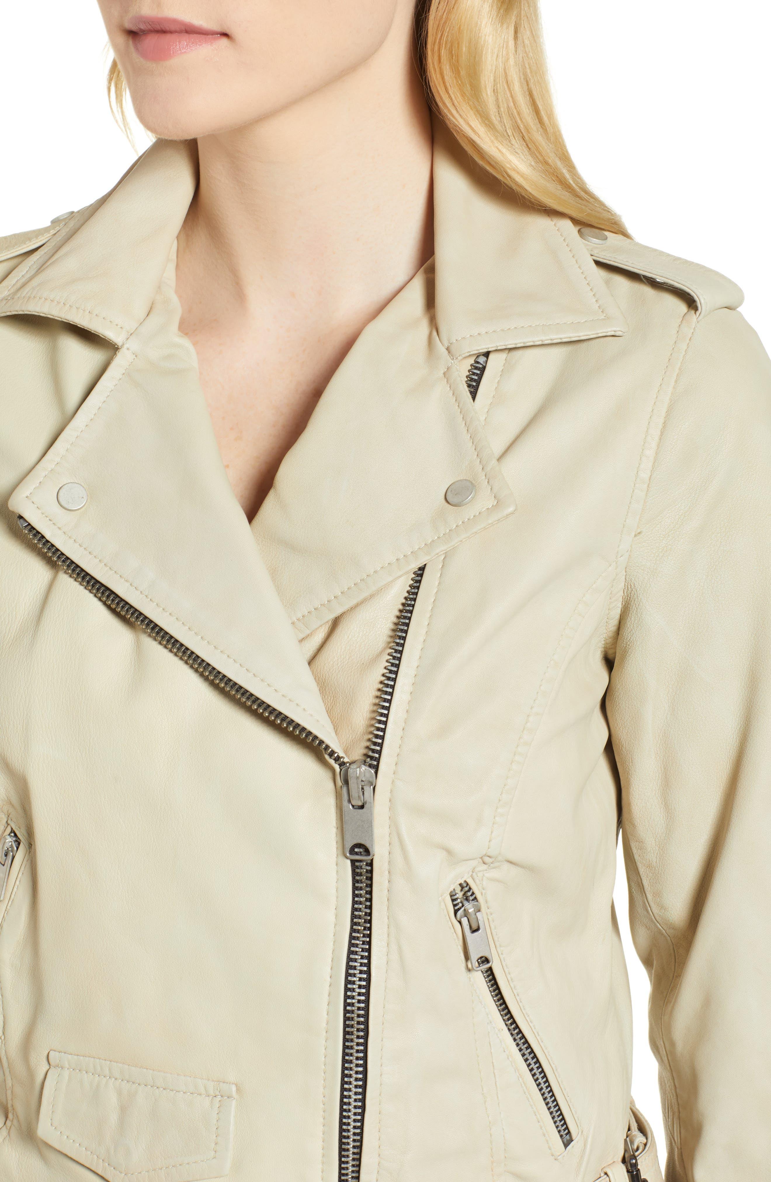 Whitney Washed Leather Crop Jacket,                             Alternate thumbnail 4, color,                             277