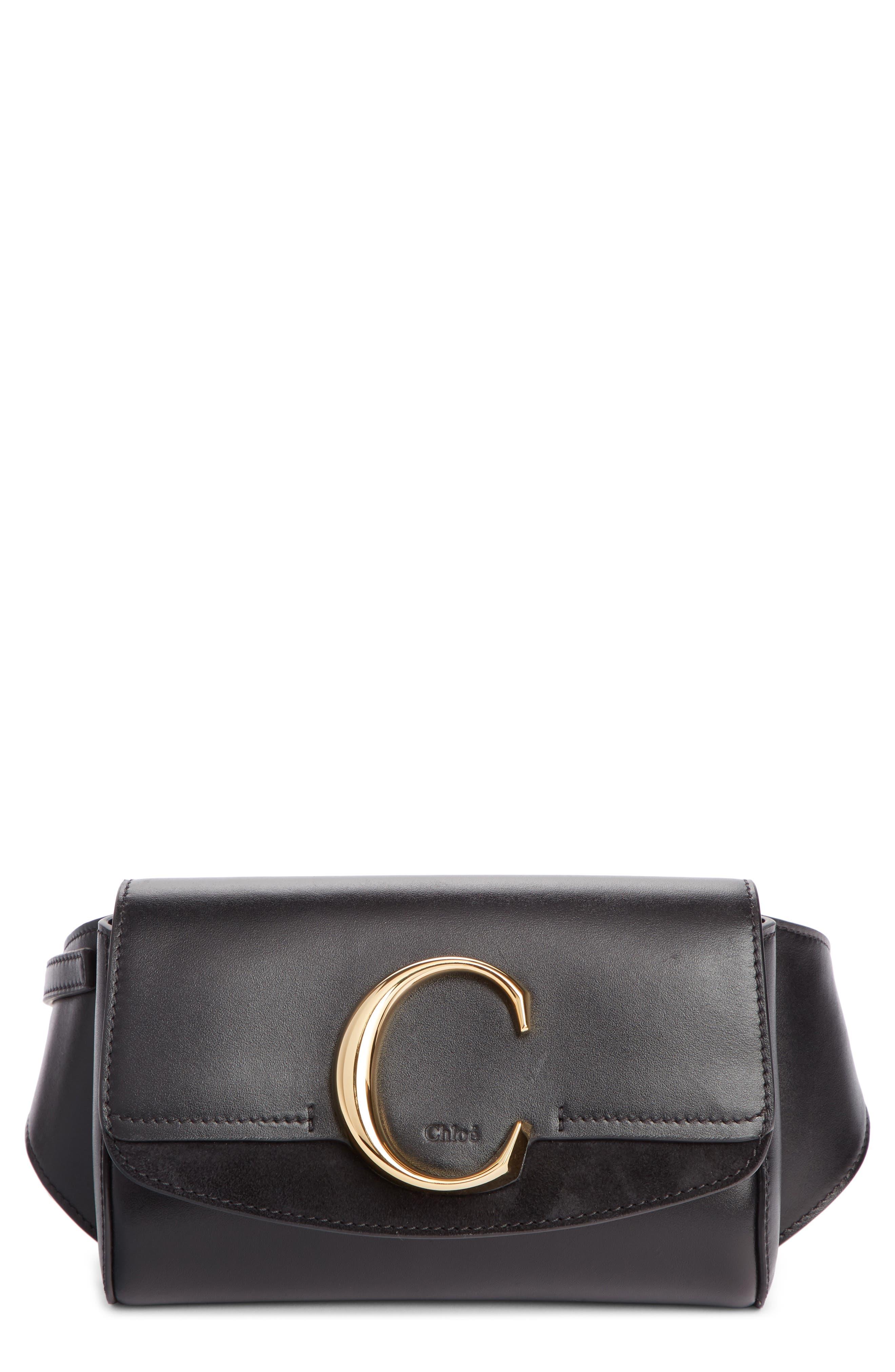 CHLOÉ,                             C Leather Convertible Belt Bag,                             Main thumbnail 1, color,                             BLACK
