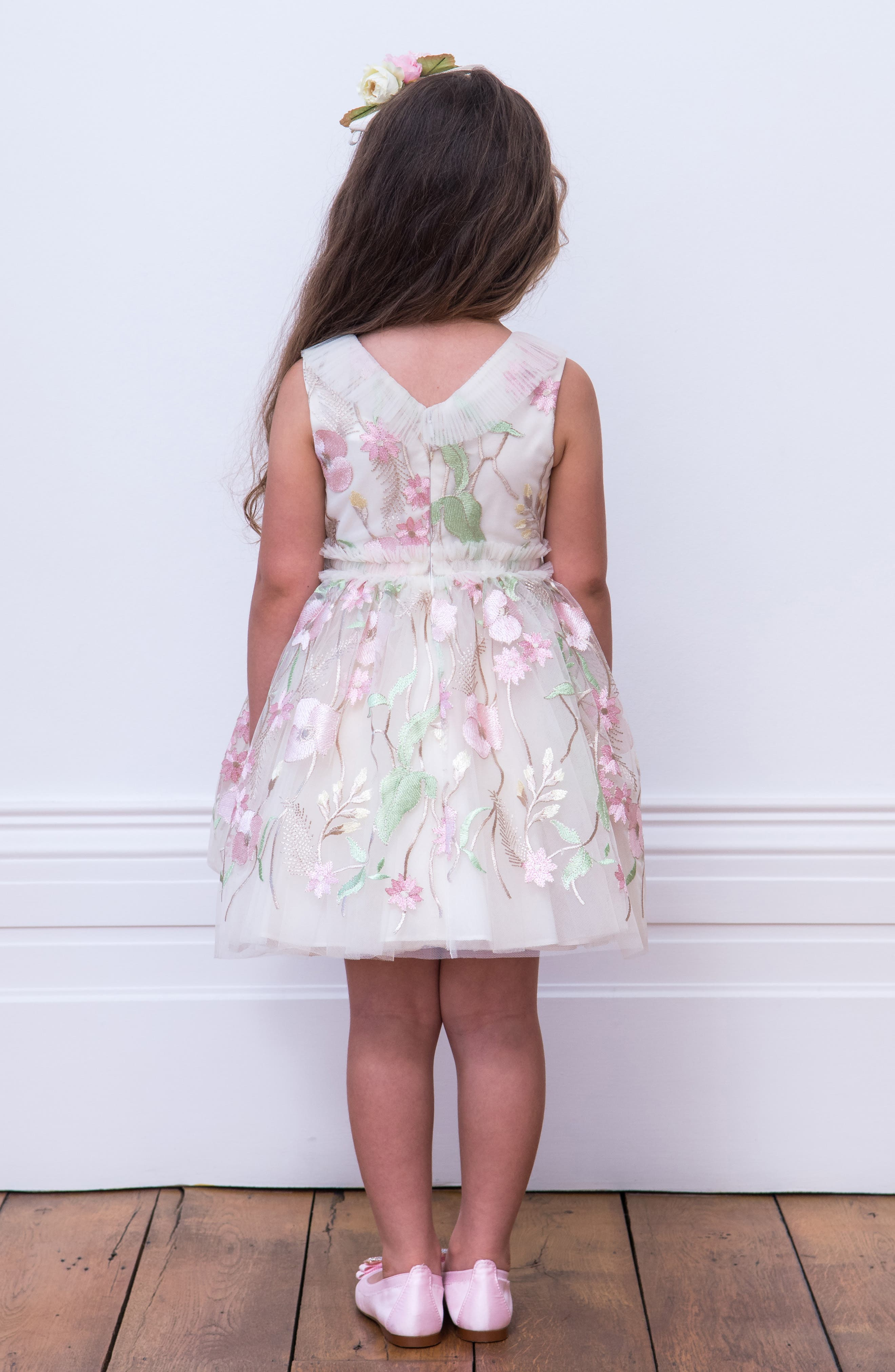 DAVID CHARLES,                             Pastel Embroidered Tulle Dress,                             Alternate thumbnail 4, color,                             IVORY/ PINK