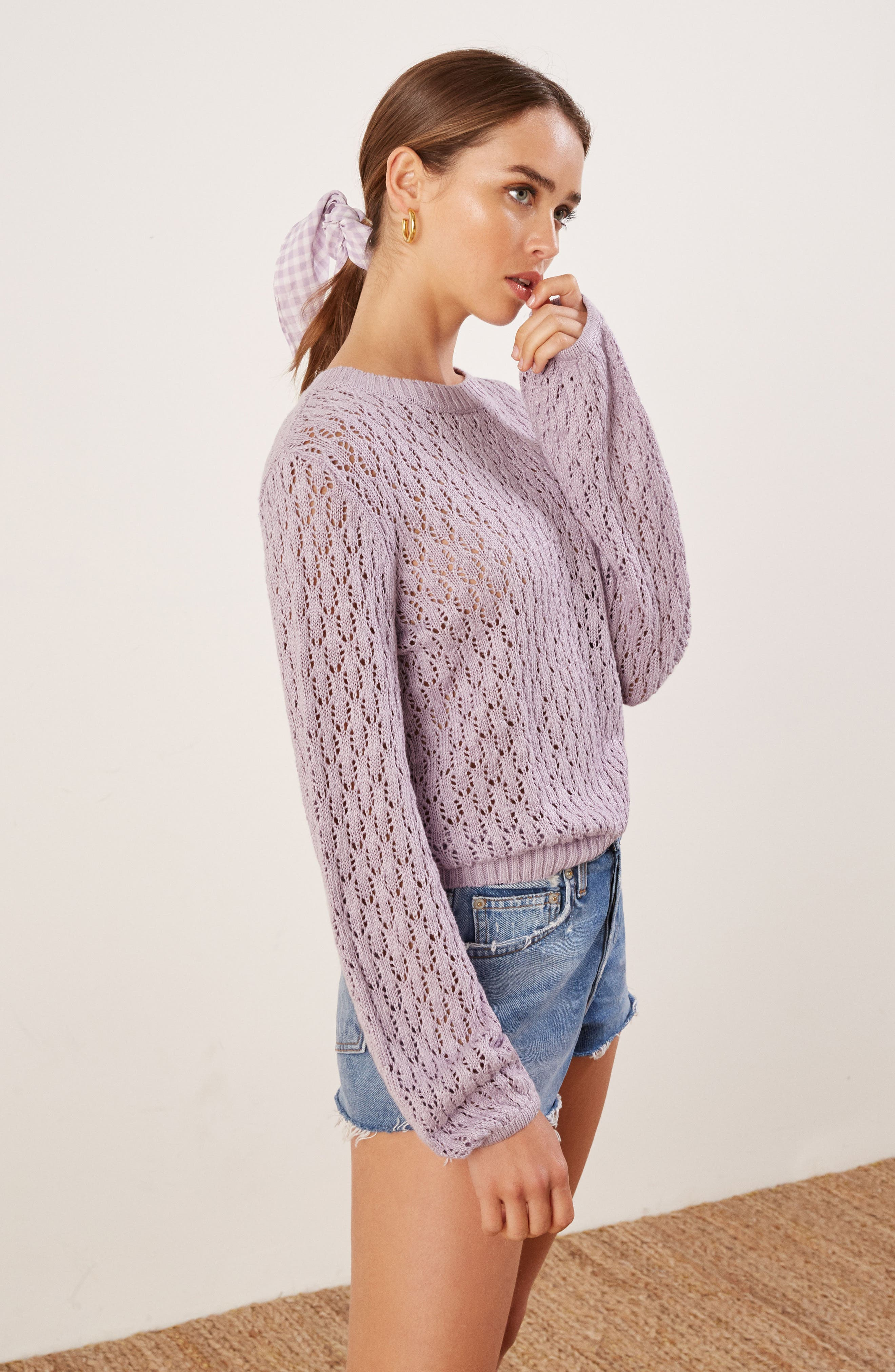 Rose Pointelle Linen Sweater,                             Alternate thumbnail 5, color,                             LILAC