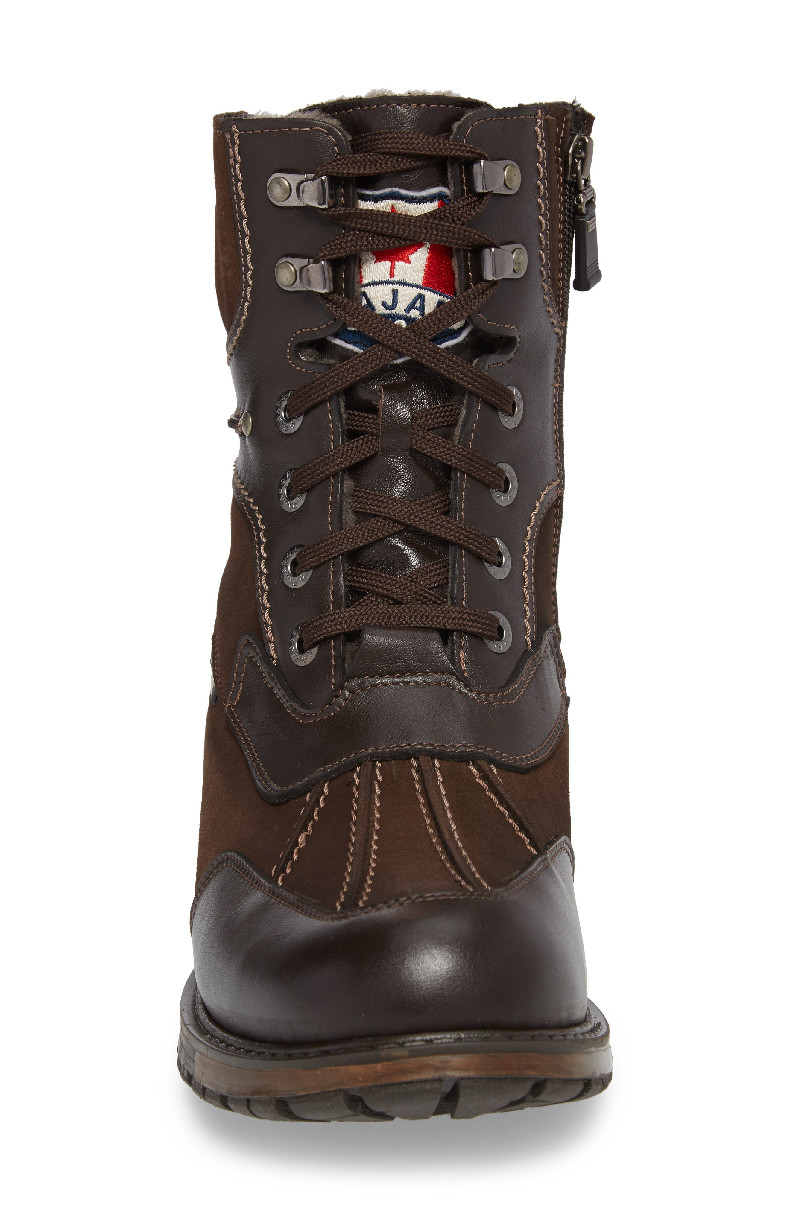 'Carrefour' Snow Boot,                             Alternate thumbnail 4, color,                             DARK BROWN LEATHER