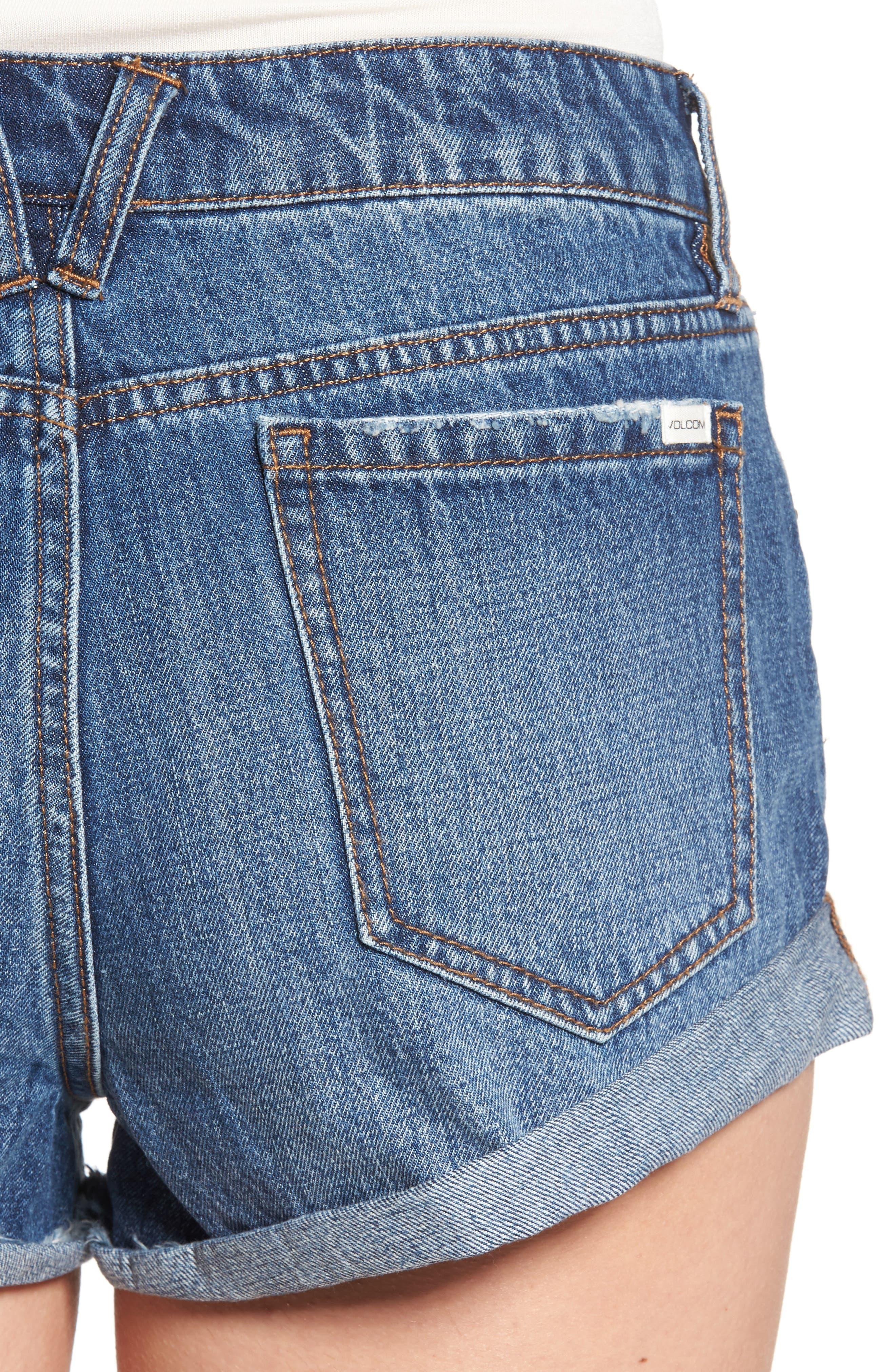 Rolled Denim Shorts,                             Alternate thumbnail 7, color,
