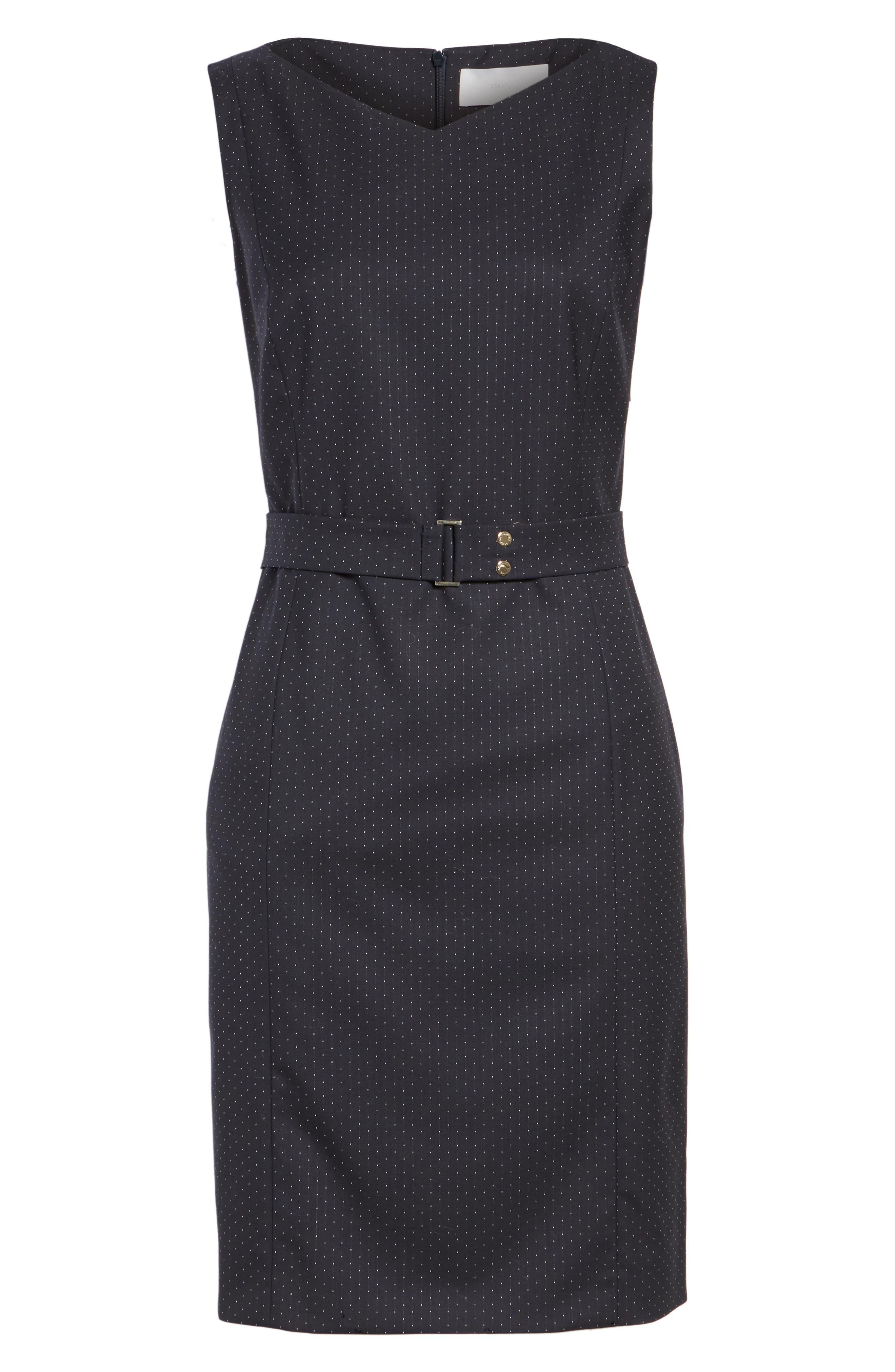 Dinalia Mini Dot Belted Wool Sheath Dress,                             Alternate thumbnail 6, color,                             461
