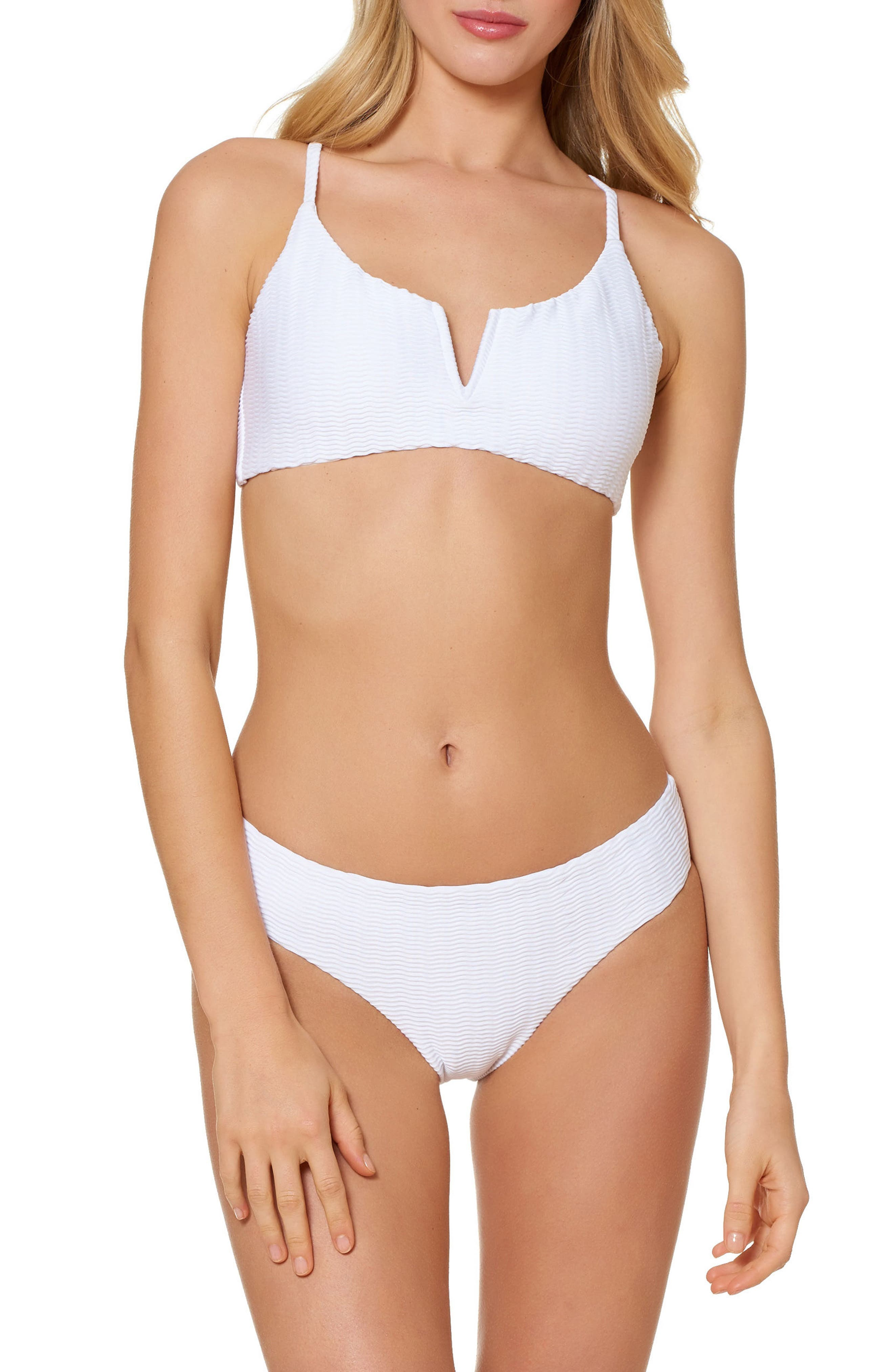 RED CARTER Textured Hipster Bikini Bottoms in White