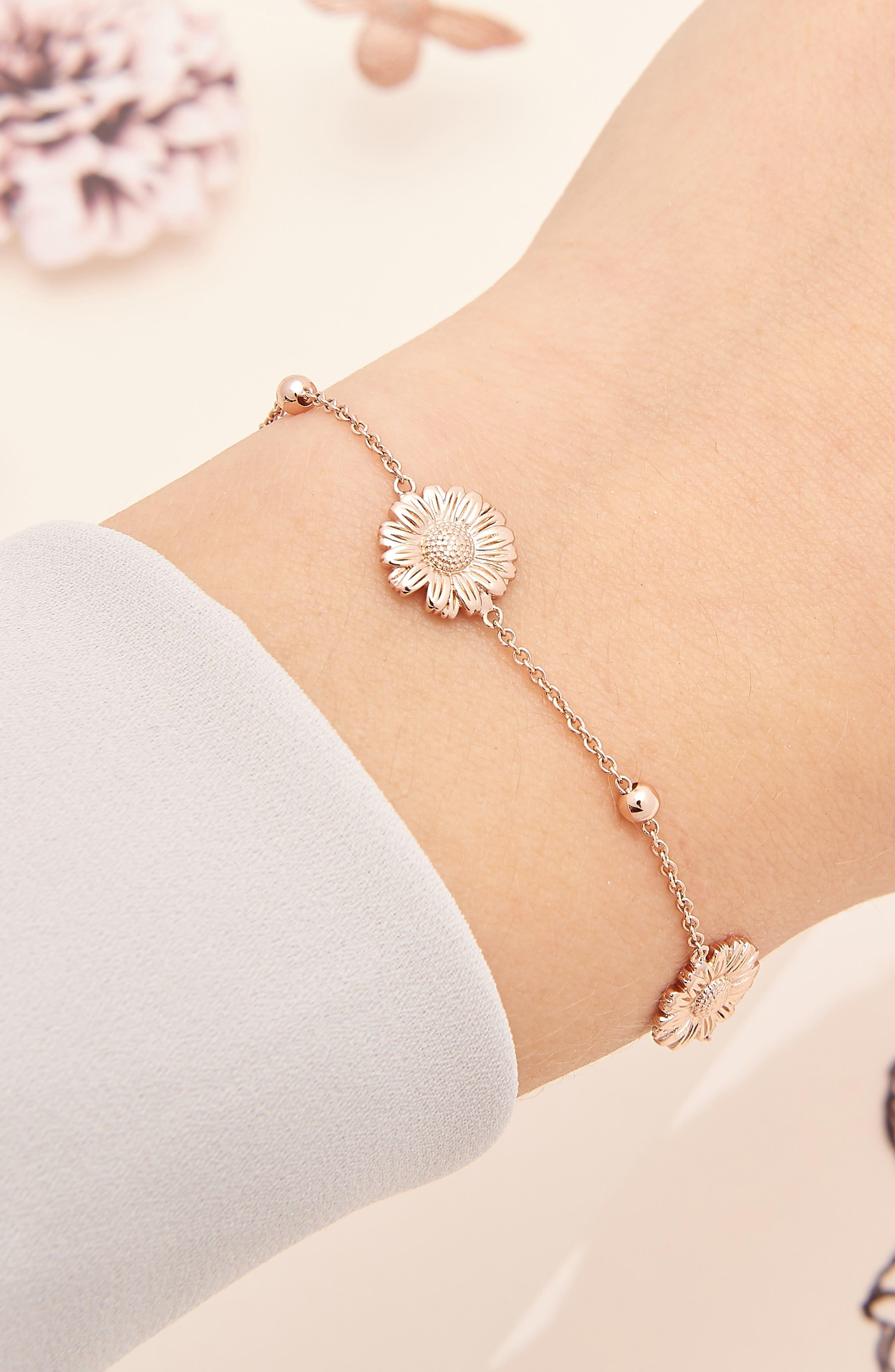 3D Daisy Ball Chain Bracelet,                             Alternate thumbnail 2, color,                             ROSE GOLD