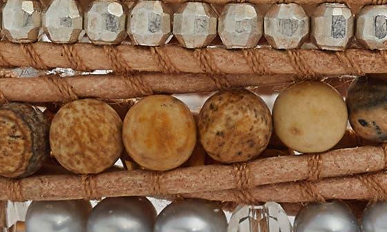 CHAN LUU Freshwater Pearl & Semiprecious Stone Wrap Bracelet in Light Grey Mix