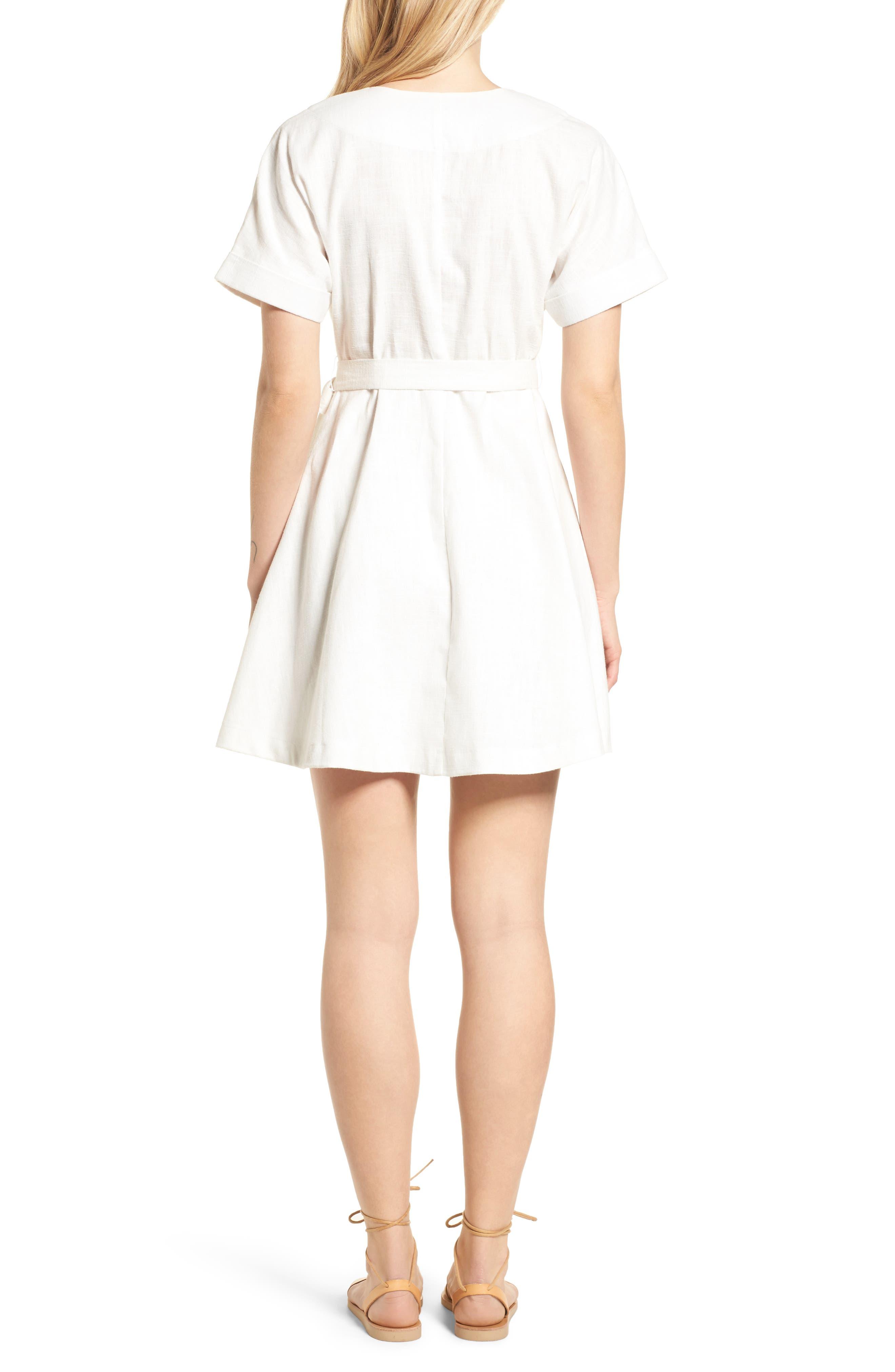 Linen & Cotton Button Front Dress,                             Alternate thumbnail 2, color,                             100