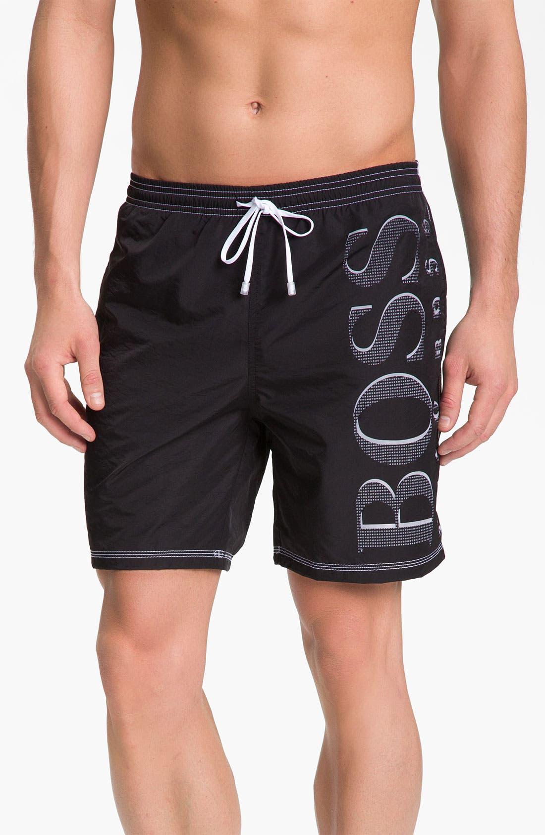 HUGO BOSS 'Killifish' Volley Swim Shorts,                             Main thumbnail 1, color,                             001