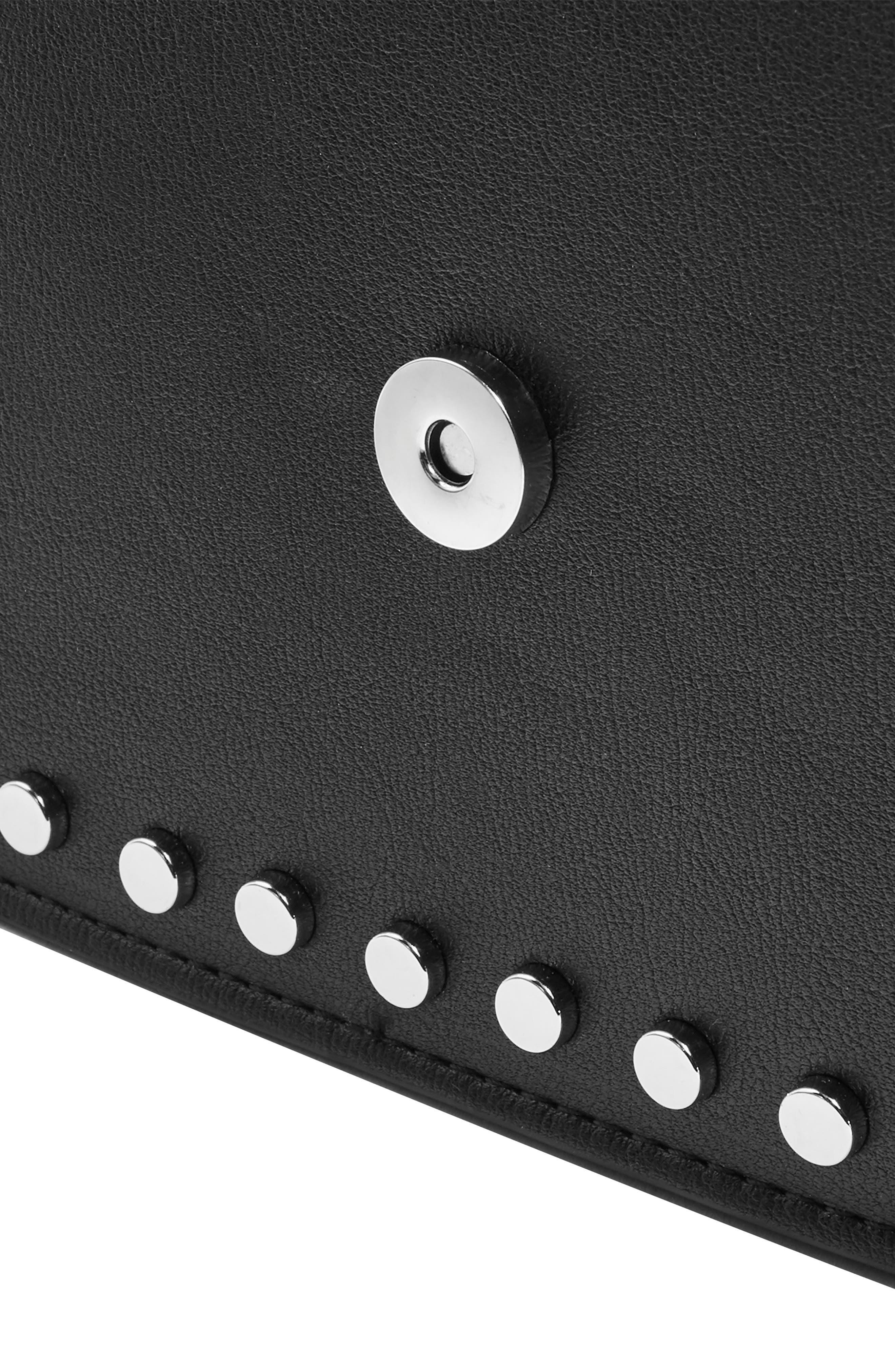 Buckle Faux Leather Crossbody Bag,                             Alternate thumbnail 3, color,                             BLACK