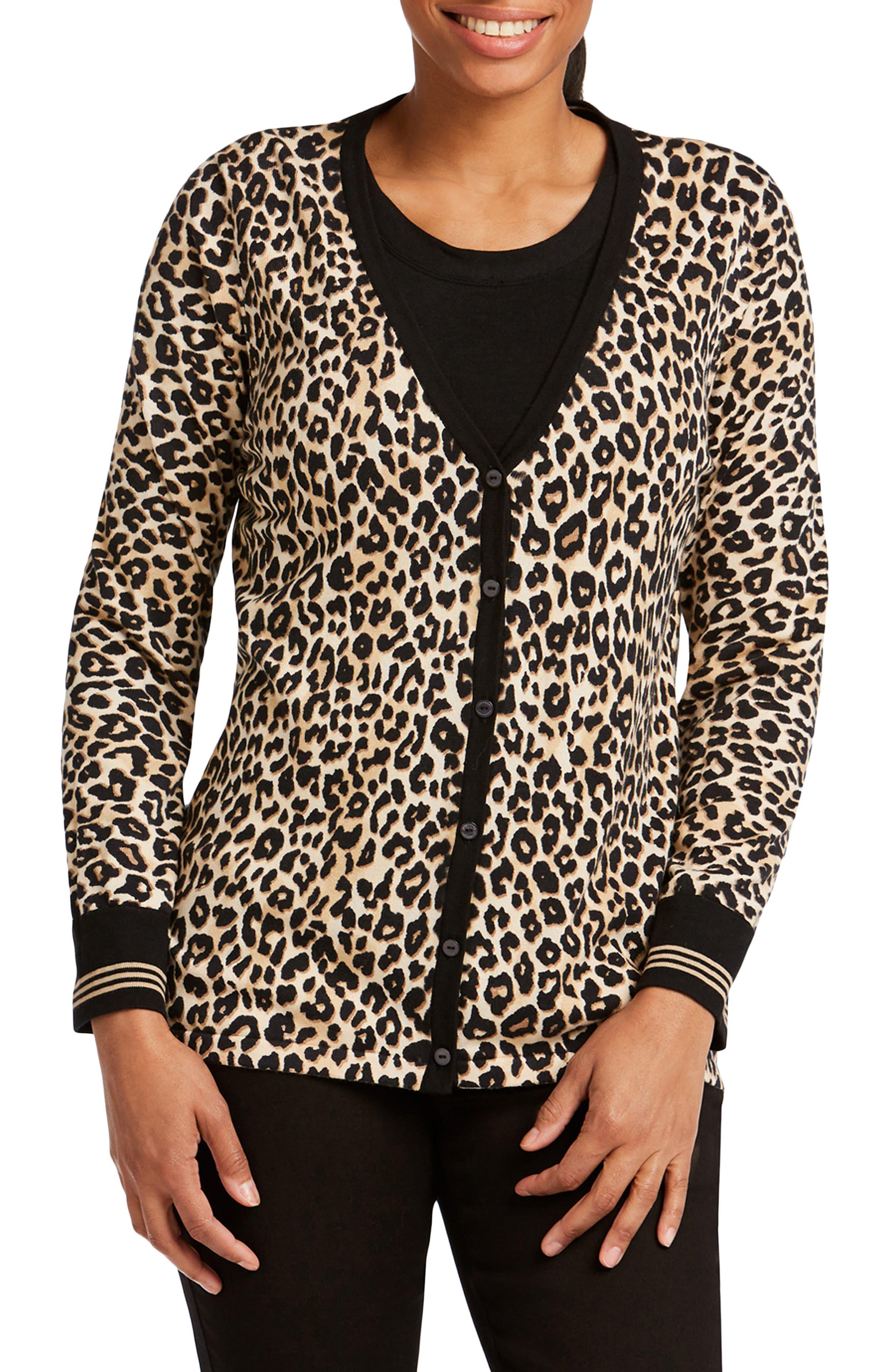 FOXCROFT Veronika Leopard Print Cardigan Sweater in Almond Tart