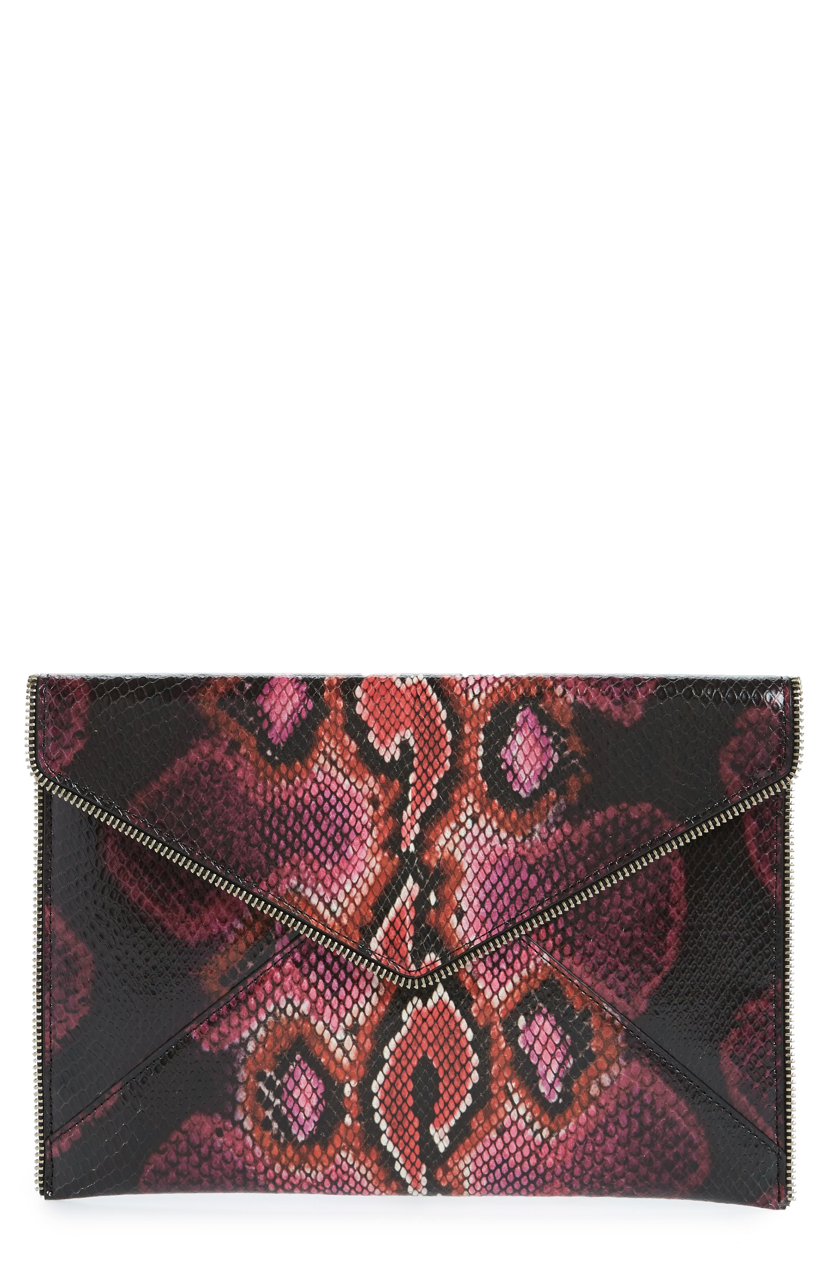 REBECCA MINKOFF Leo Snake Embossed Leather Clutch, Main, color, PINK MULTI