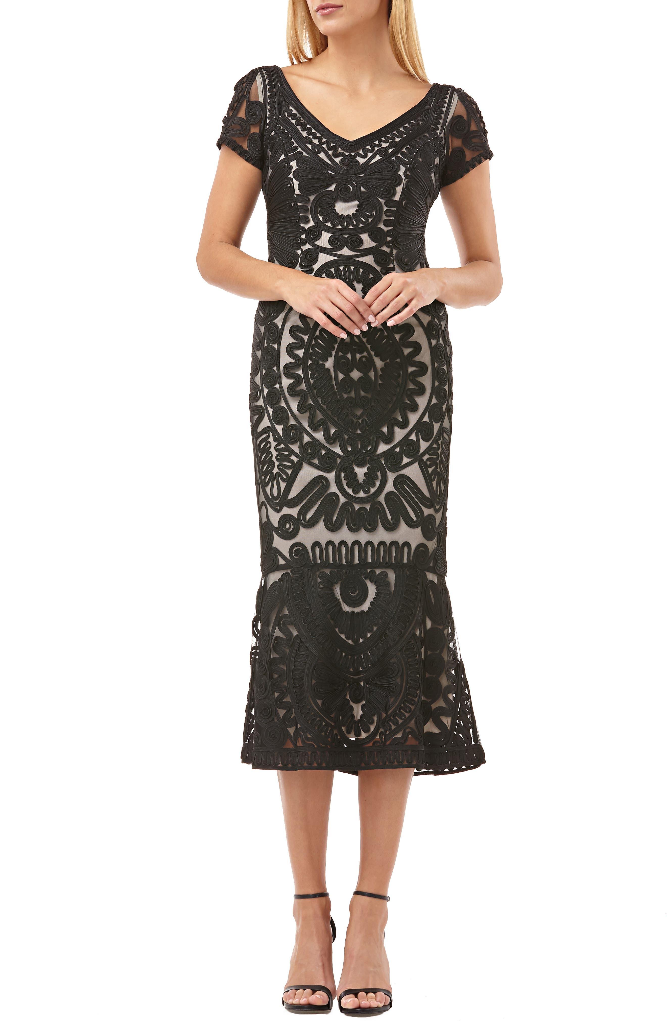 JS COLLECTIONS,                             Soutache Trumpet Dress,                             Main thumbnail 1, color,                             BLACK/ VANILLA