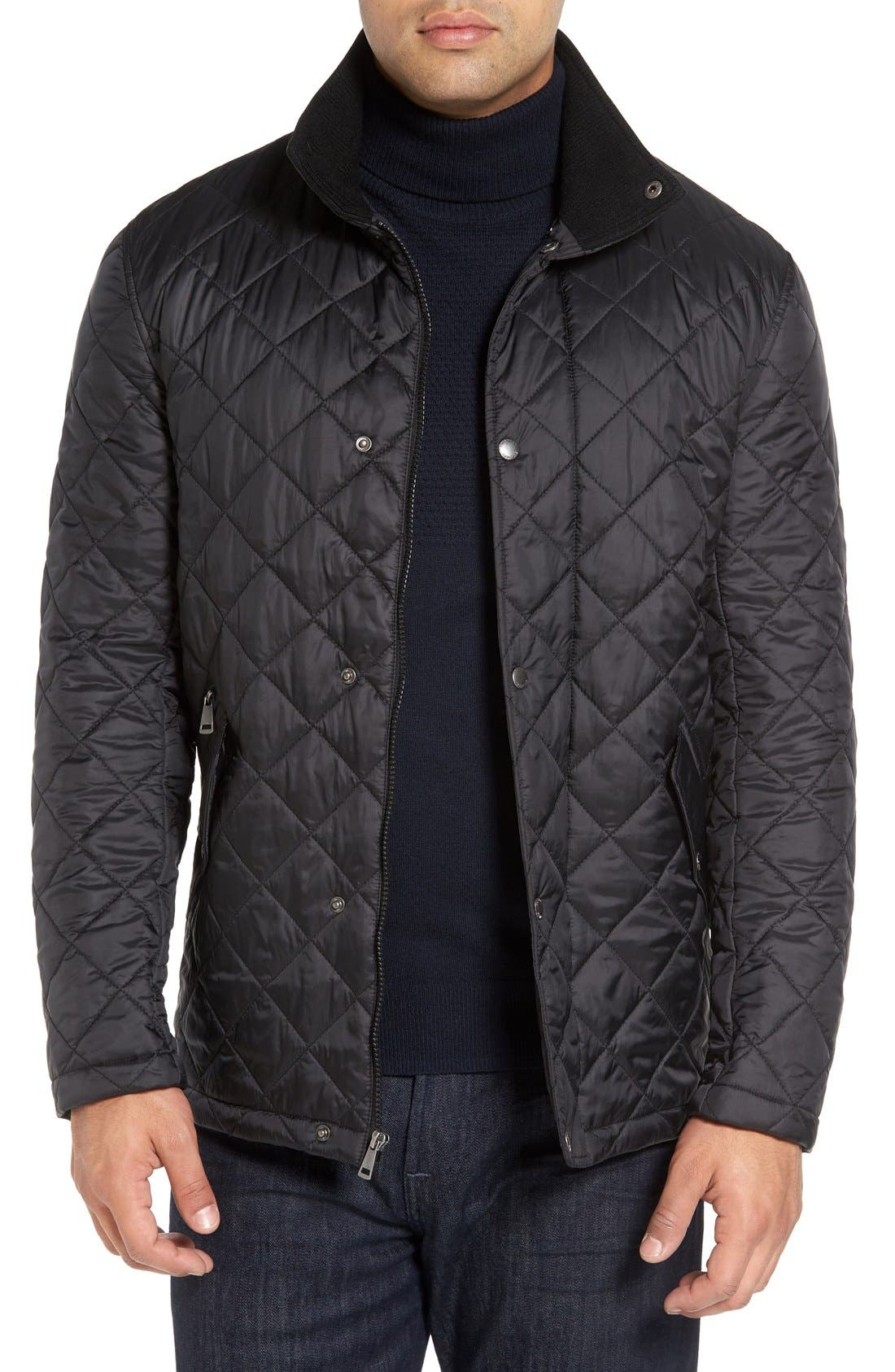 Diamond Quilted Jacket,                             Main thumbnail 1, color,                             BLACK